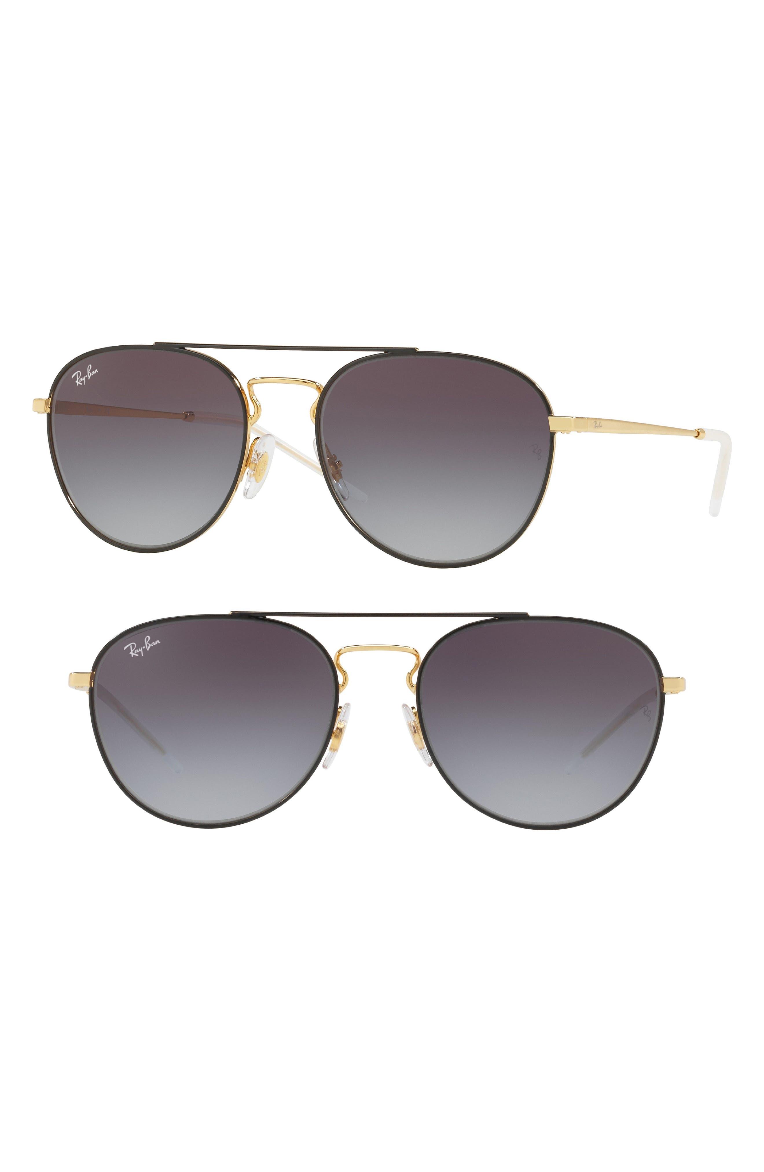 55mm Gradient Lens Round Aviator Sunglasses,                             Main thumbnail 1, color,                             001