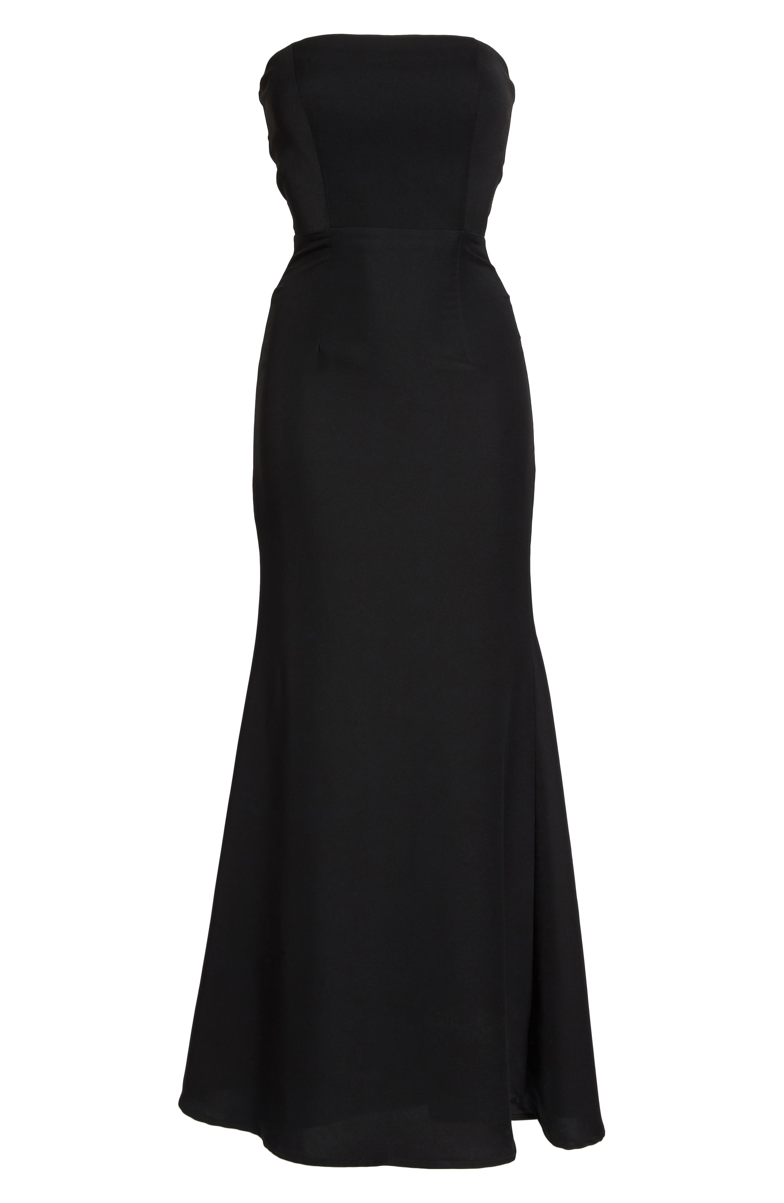 Miracle Strapless Gown,                             Alternate thumbnail 6, color,                             BLACK