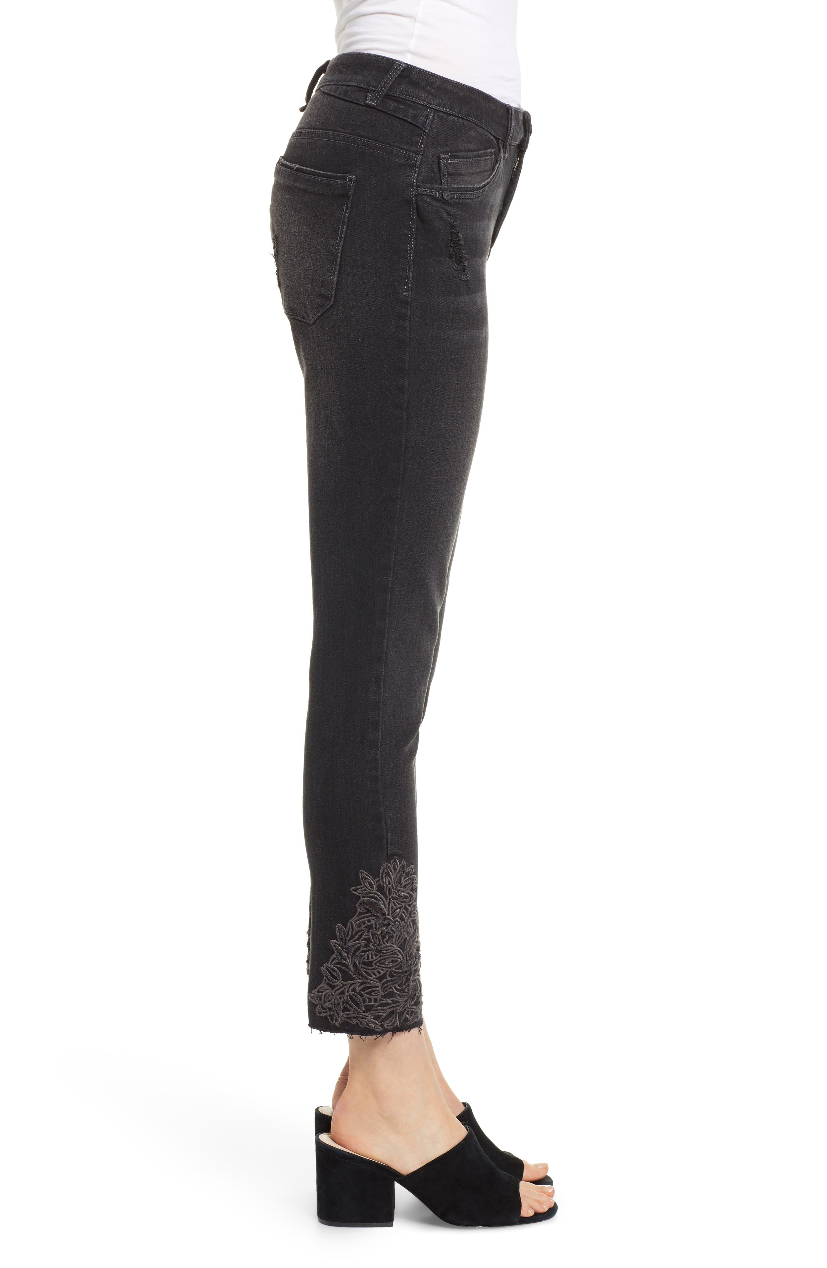 Embroidered High Rise Ankle Skimmer Jeans,                             Alternate thumbnail 3, color,                             001