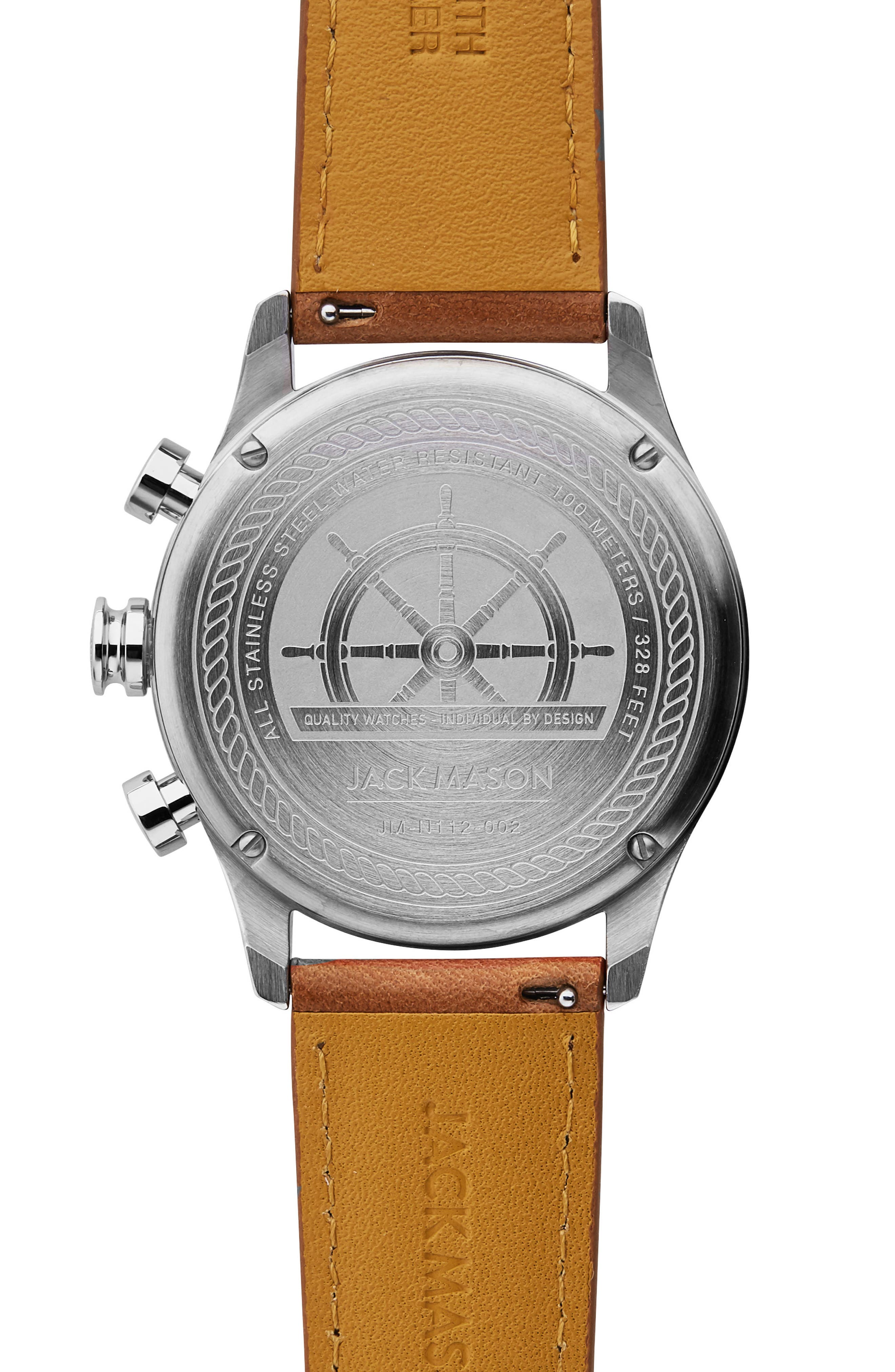 Nautical Chronograph Leather Strap Watch, 42mm,                             Alternate thumbnail 2, color,                             GREY/ BROWN