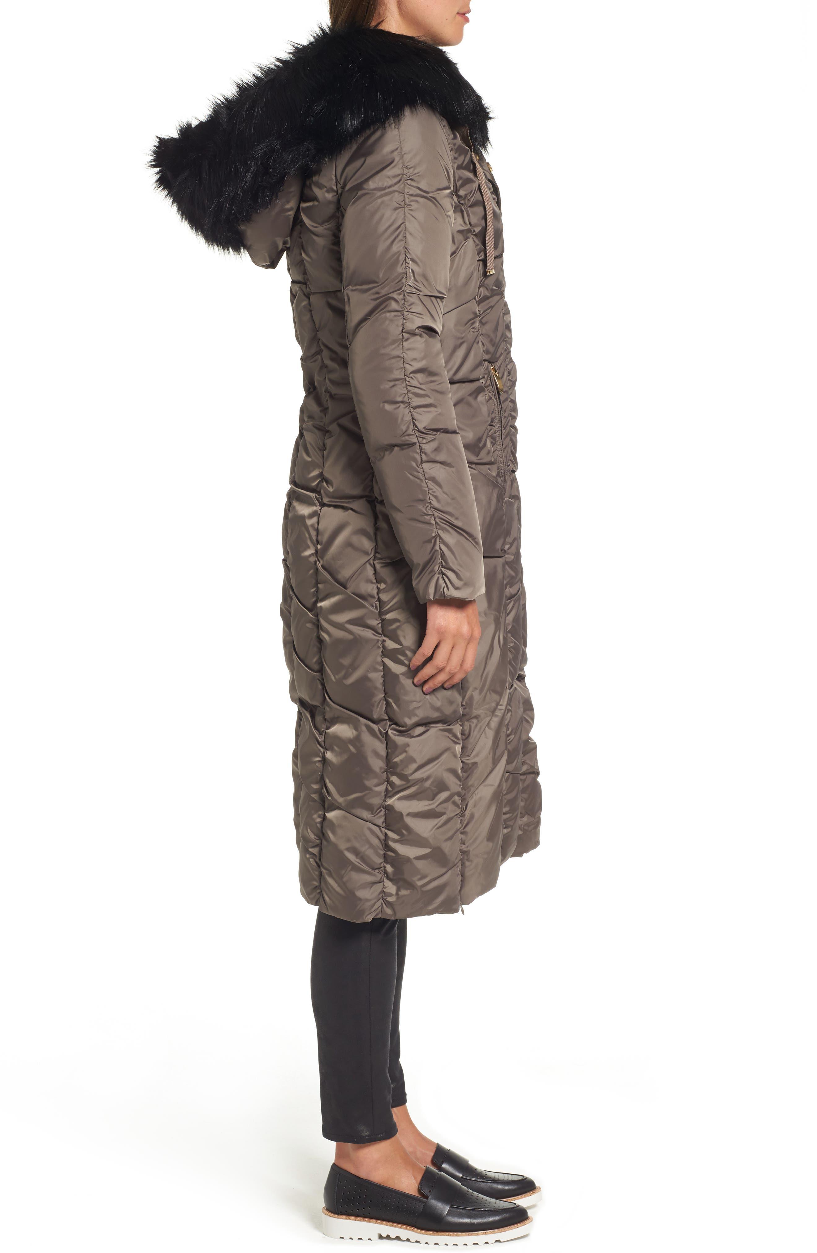 Long Faux Fur Trim Coat,                             Alternate thumbnail 6, color,