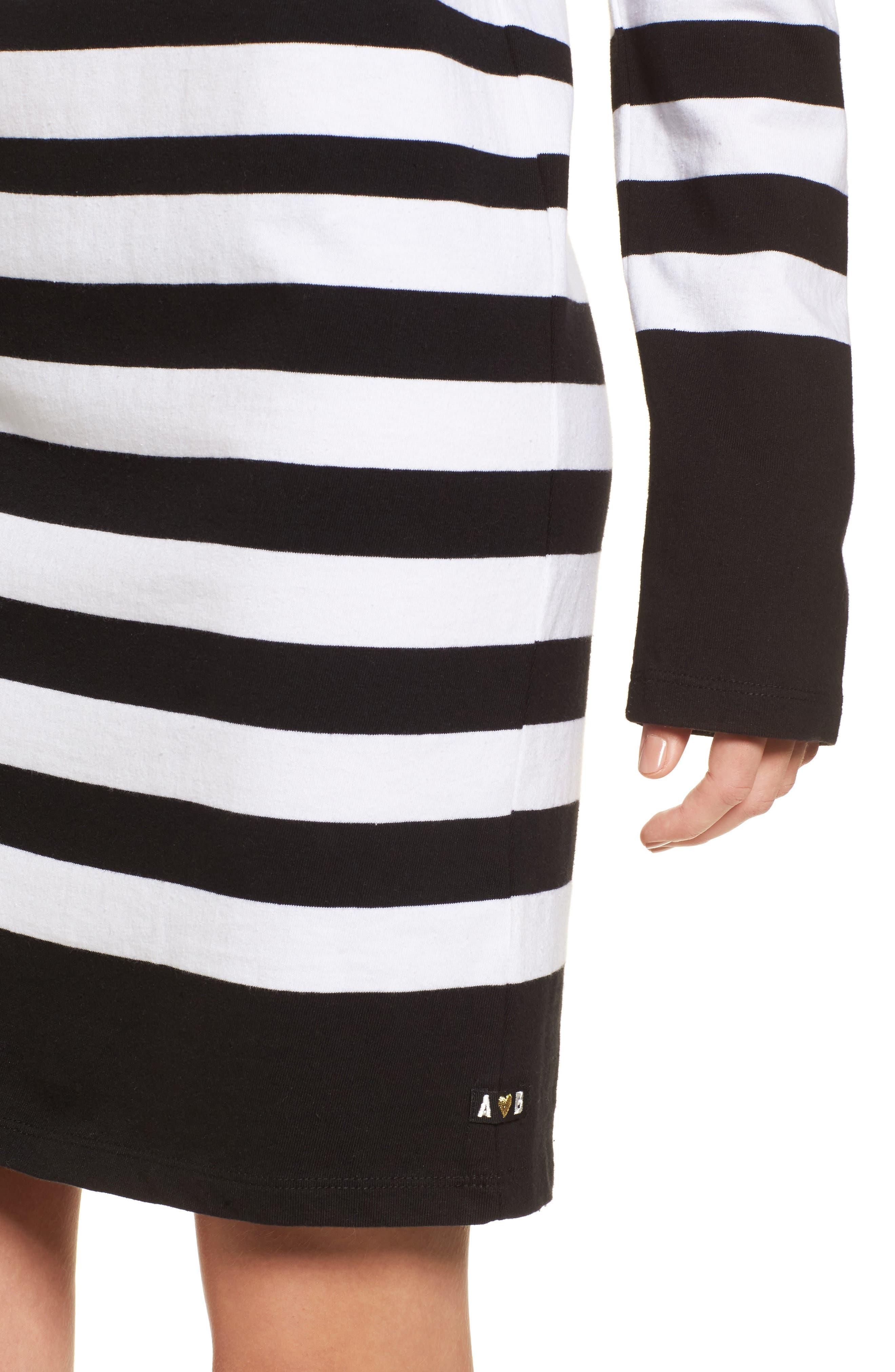 Breton Stripe Cotton Shift Dress,                             Alternate thumbnail 4, color,                             001
