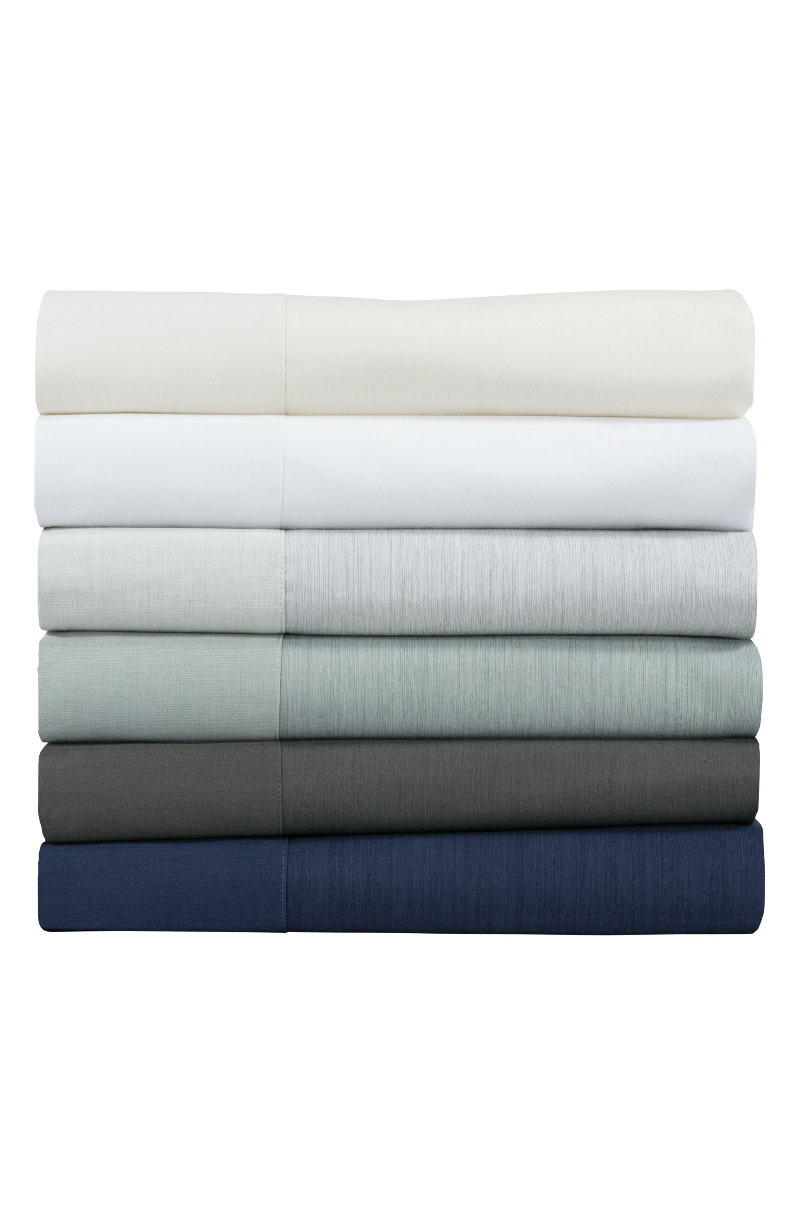 Striated Band 400 Thread Count Pillowcases,                             Alternate thumbnail 2, color,                             WHITE
