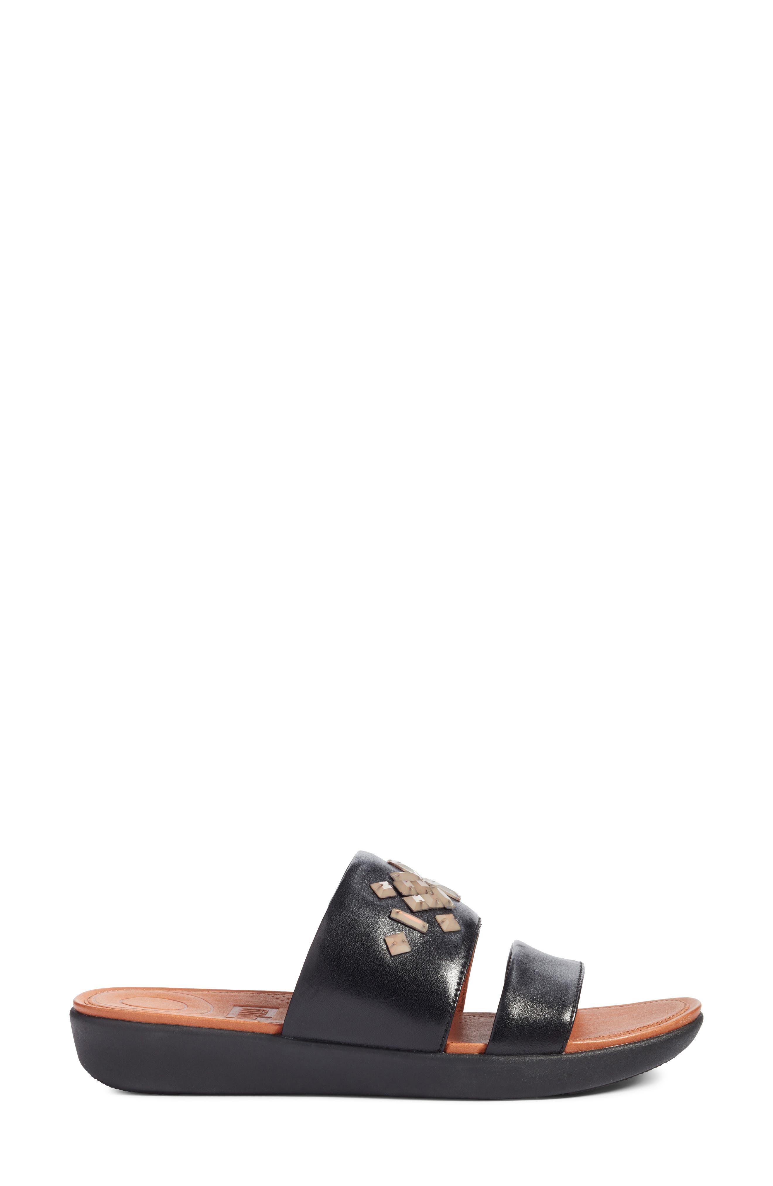Delta Slide Sandal,                             Alternate thumbnail 3, color,                             BLACK LEATHER