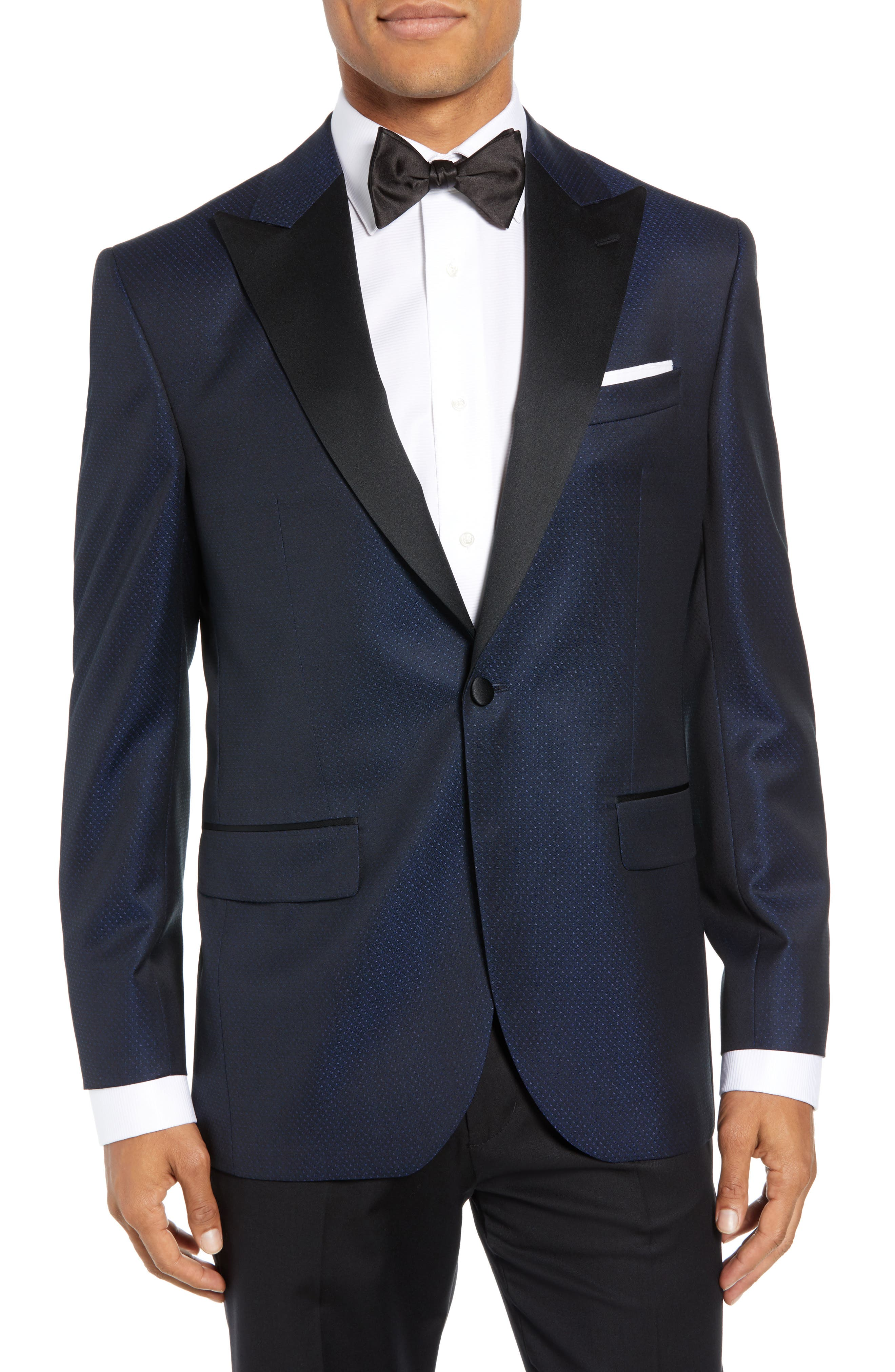 DAVID DONAHUE Russell Classic Fit Wool Dinner Jacket, Main, color, NAVY
