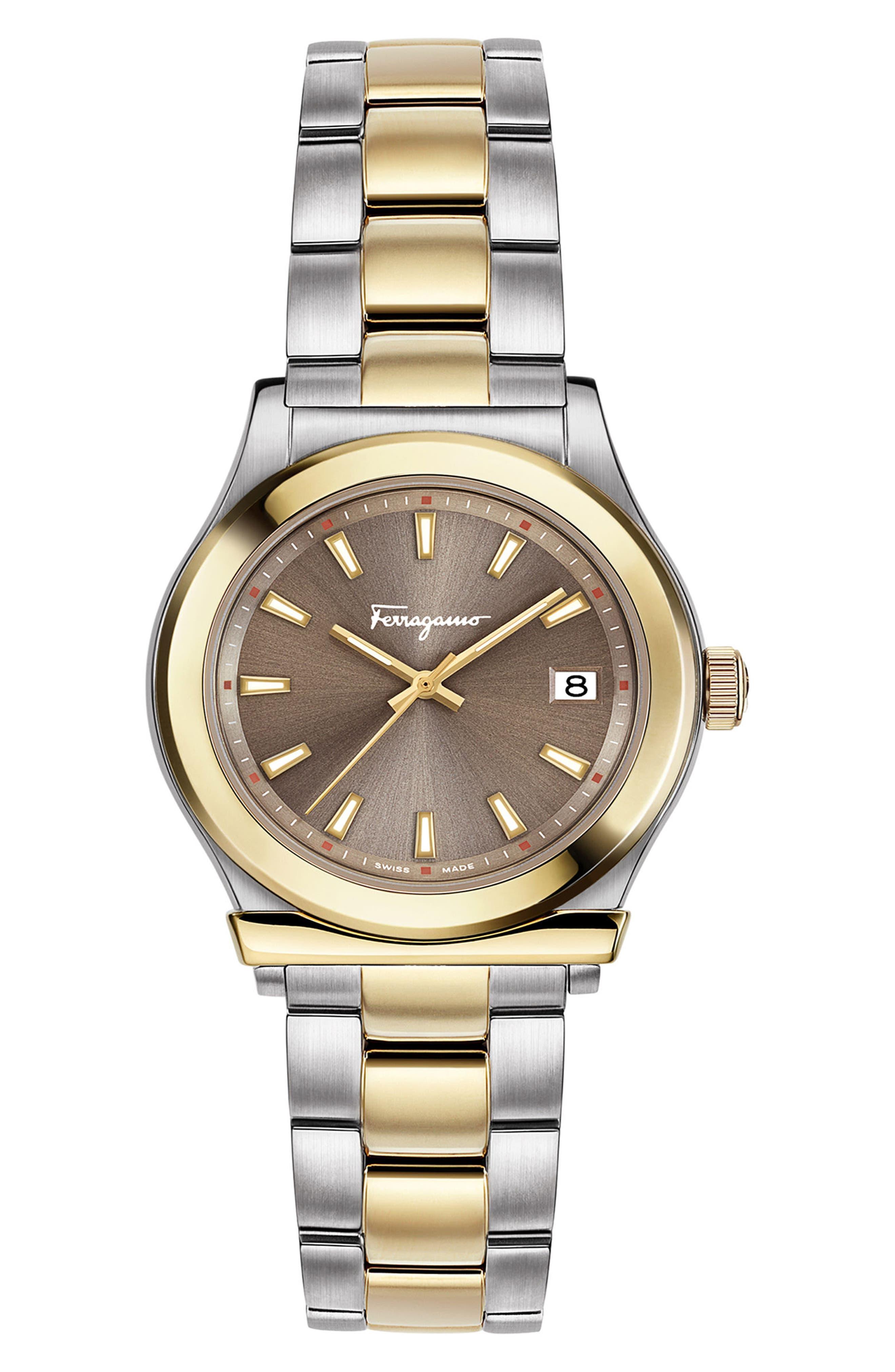 1898 Bracelet Watch, 28mm,                         Main,                         color, SILVER/ BROWN/ GOLD