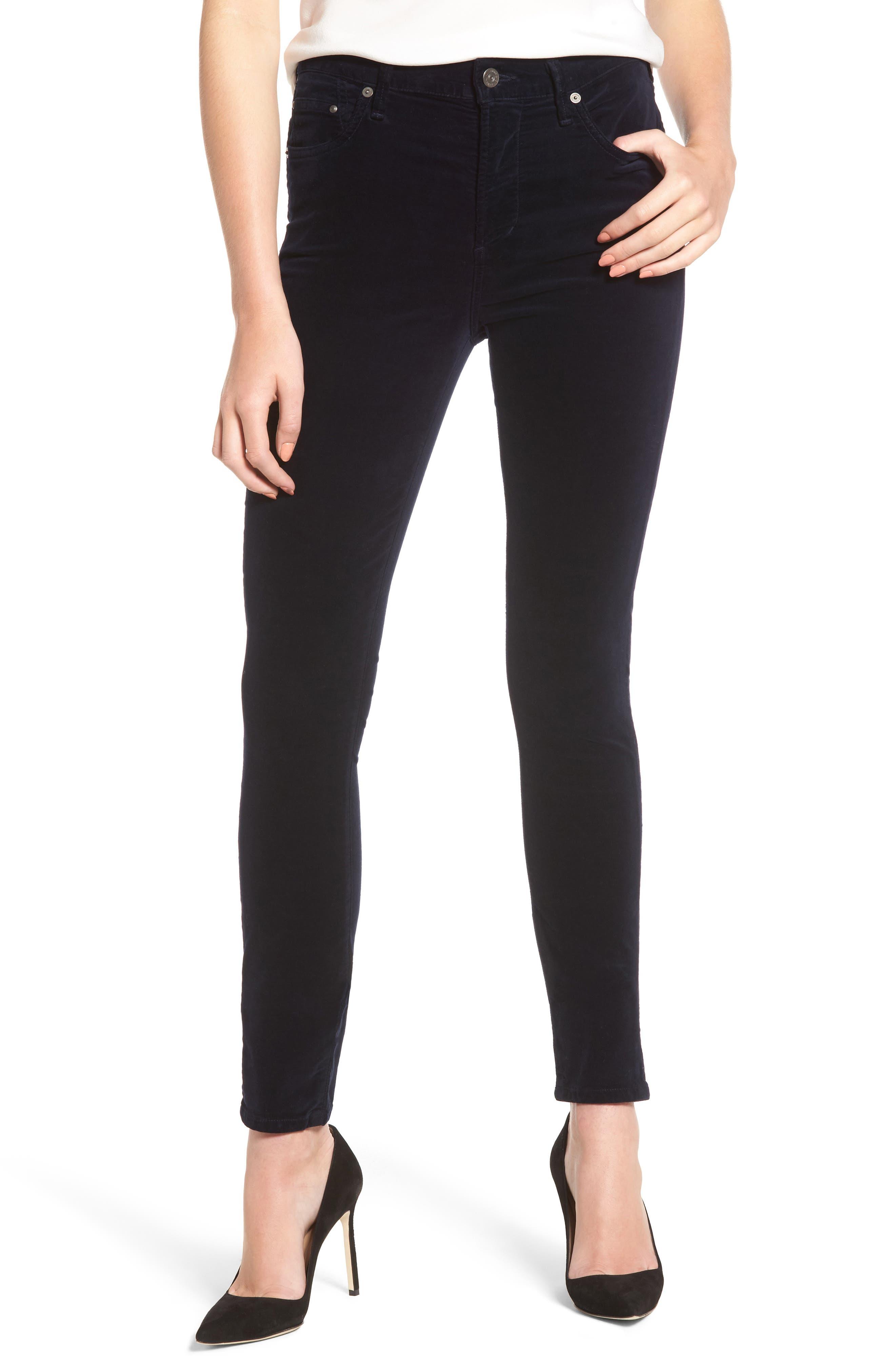 Rocket High Waist Velveteen Skinny Pants,                         Main,                         color, 418