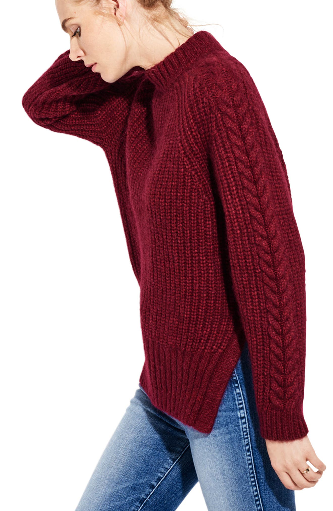 The Spark Mock Neck Sweater,                             Alternate thumbnail 3, color,                             600