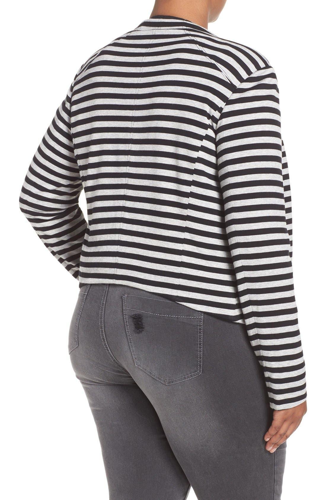 'Veronicka' Stripe Knit Open Front Jacket,                             Alternate thumbnail 2, color,                             BLACK/ HEATHER GREY STRIPE