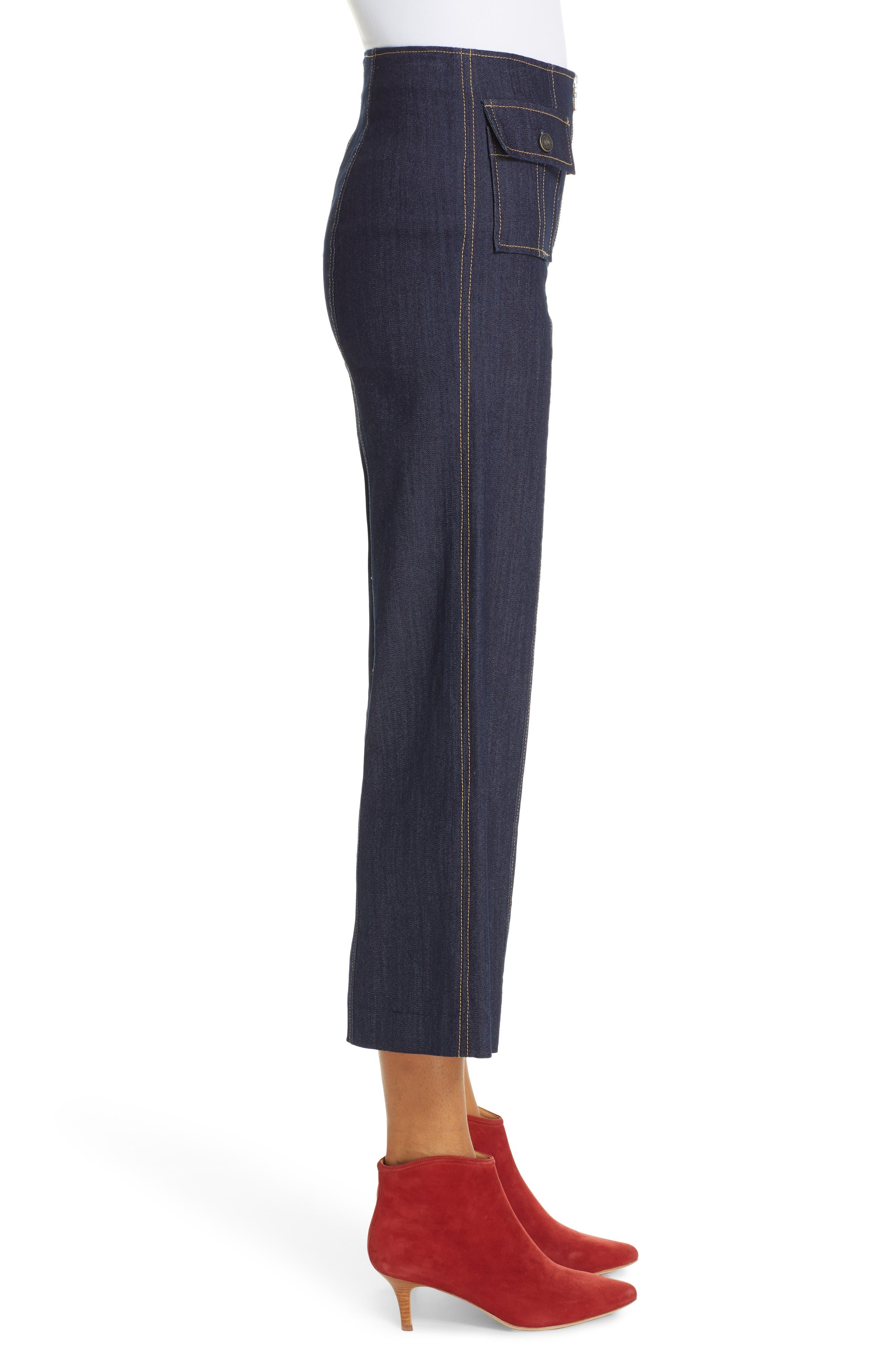 Azure Crop Wide Leg Jeans,                             Alternate thumbnail 3, color,                             INDIGO
