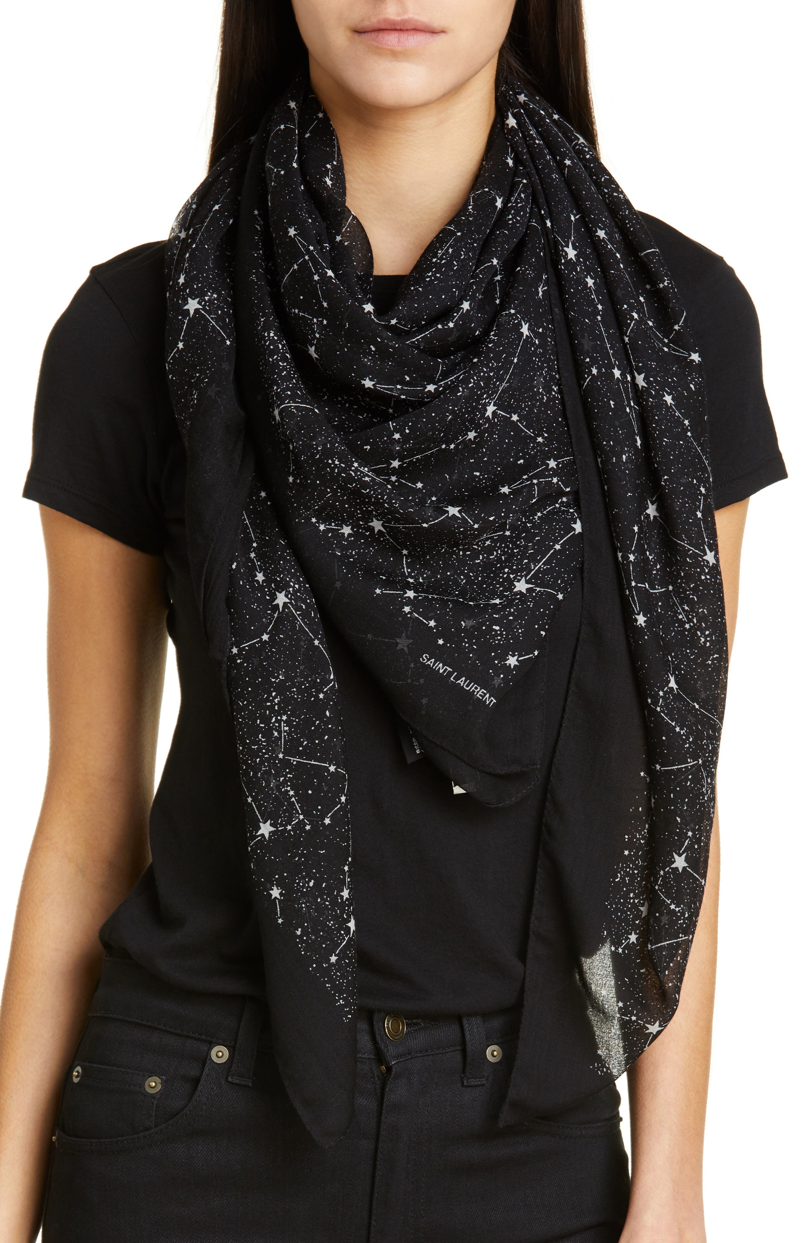 SAINT LAURENT,                             Constellation Square Wool Scarf,                             Alternate thumbnail 2, color,                             BLACK/ IVORY