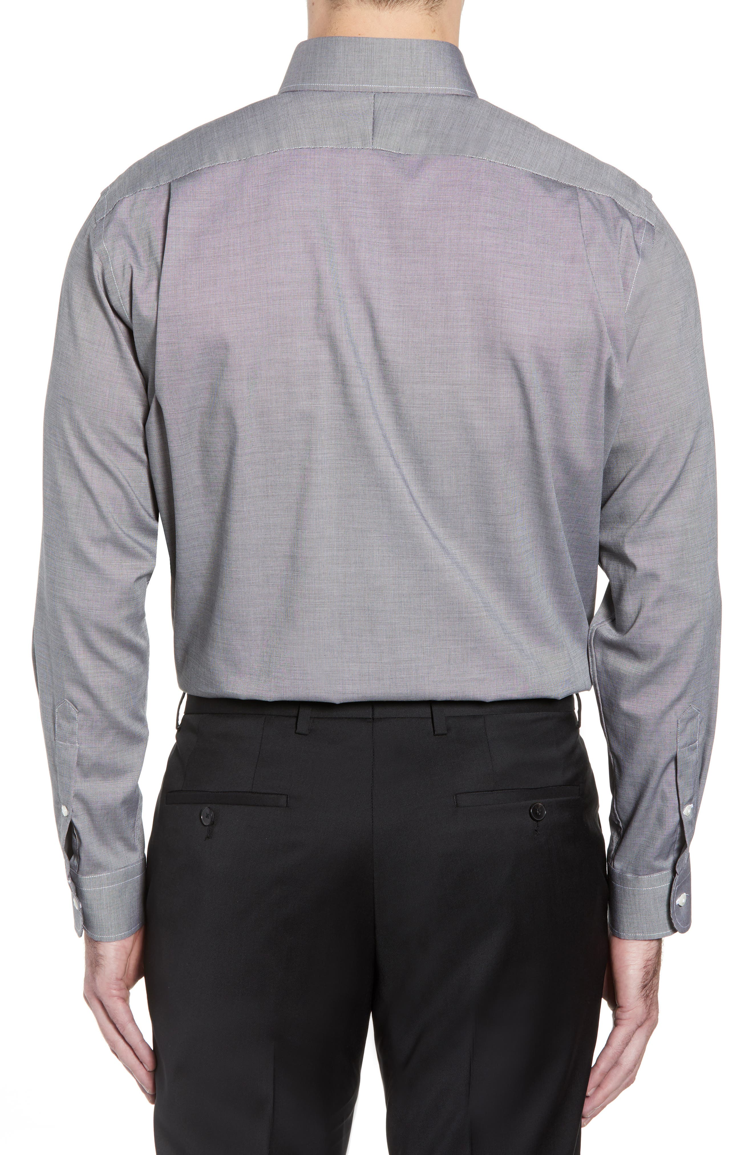 Traditional Fit Non-Iron Solid Dress Shirt,                             Alternate thumbnail 4, color,                             BLACK ROCK
