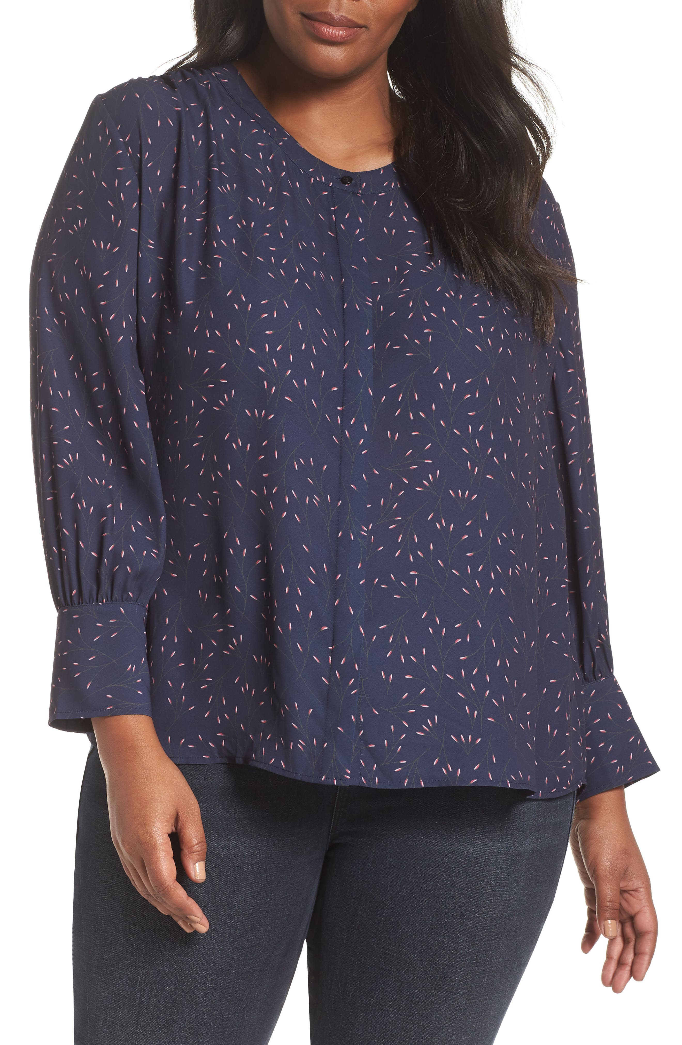 Placket Front Blouse,                         Main,                         color, NAVY WHISPERING WILLOWS PRINT