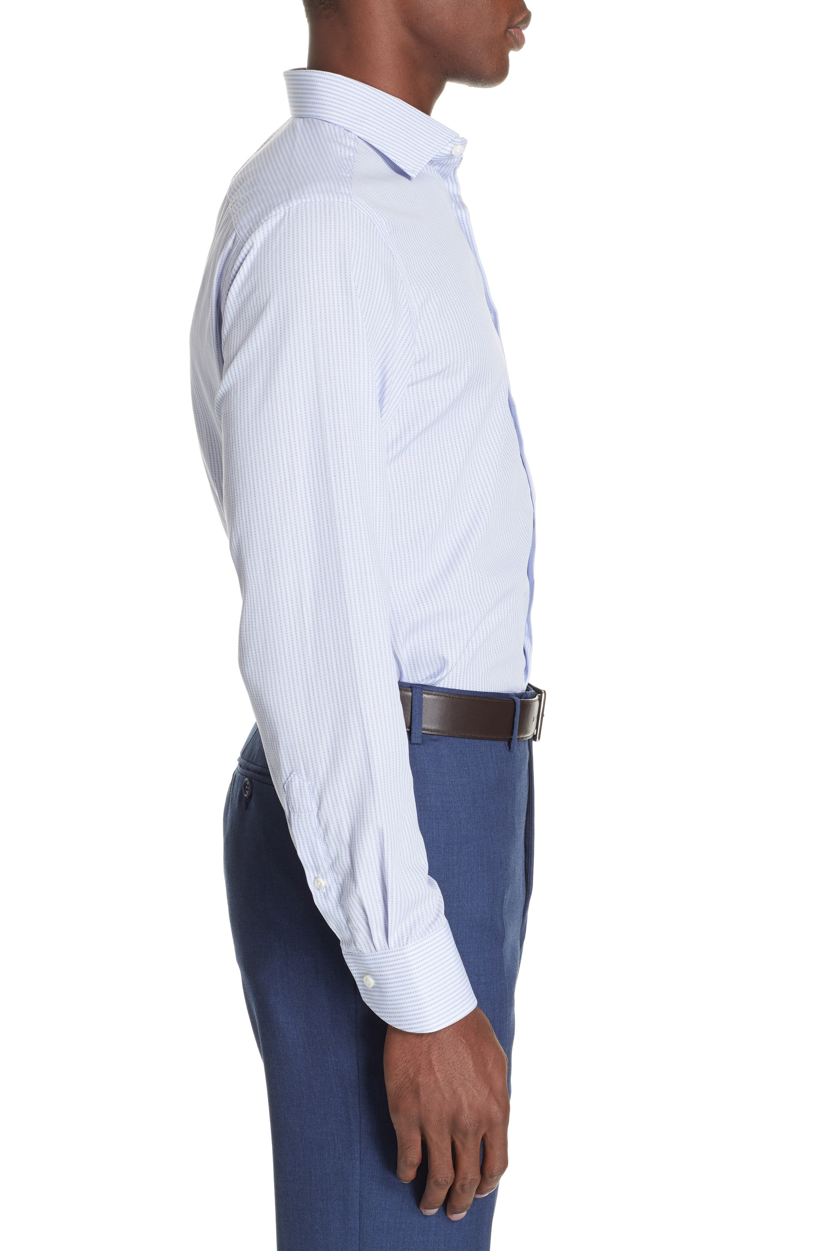 Trim Fit Stripe Dress Shirt,                             Alternate thumbnail 4, color,                             MED BLUE