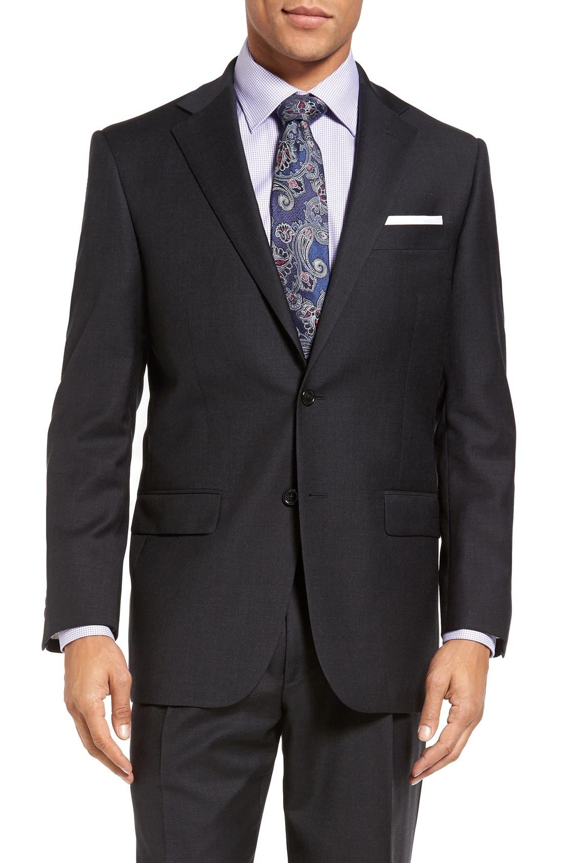 Chicago Classic Fit Solid Wool Suit,                             Alternate thumbnail 6, color,                             010