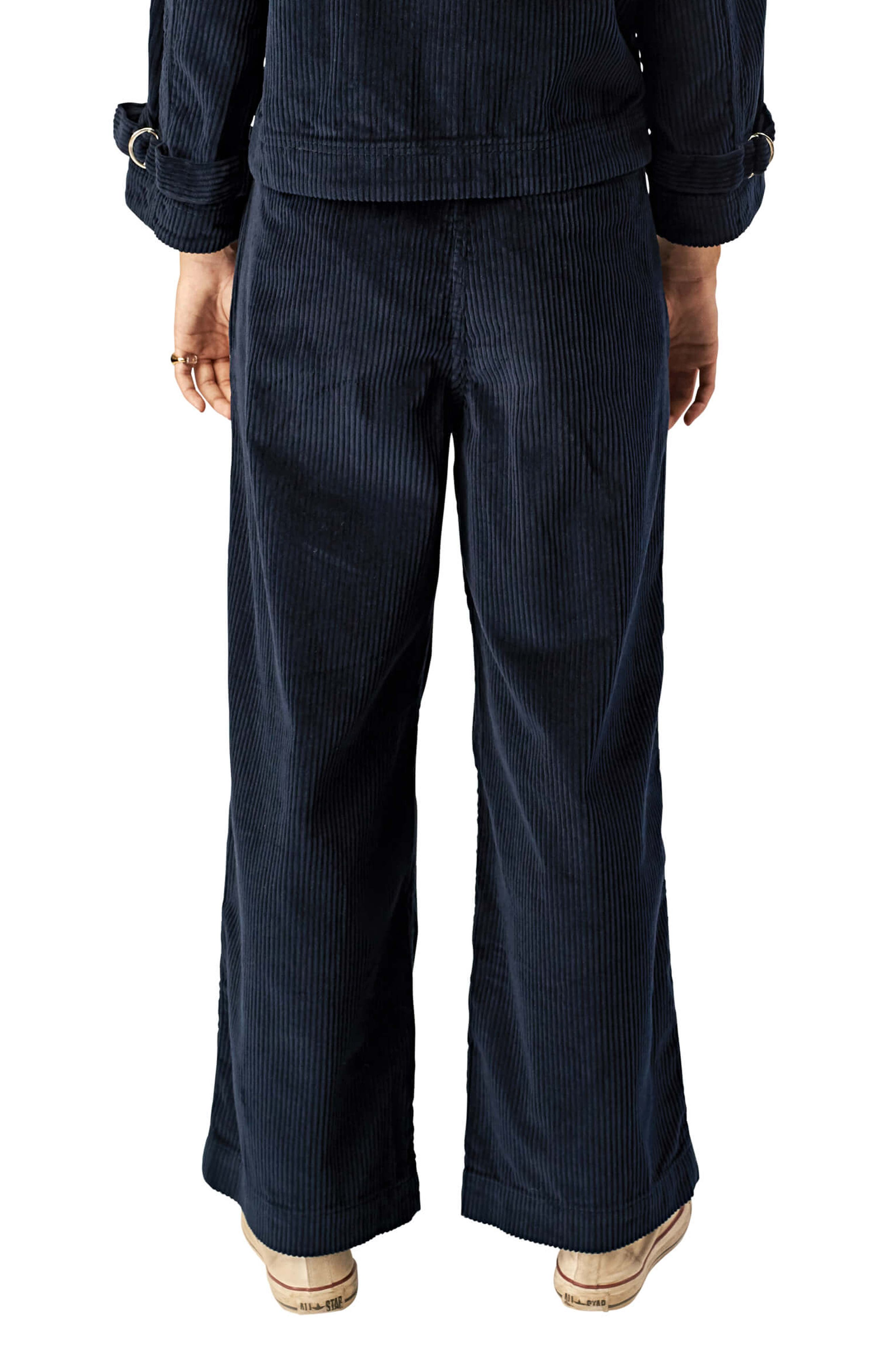 STONE ROW,                             Cut the Cord Corduroy Ankle Wide Leg Pants,                             Alternate thumbnail 2, color,                             SEA NAVY