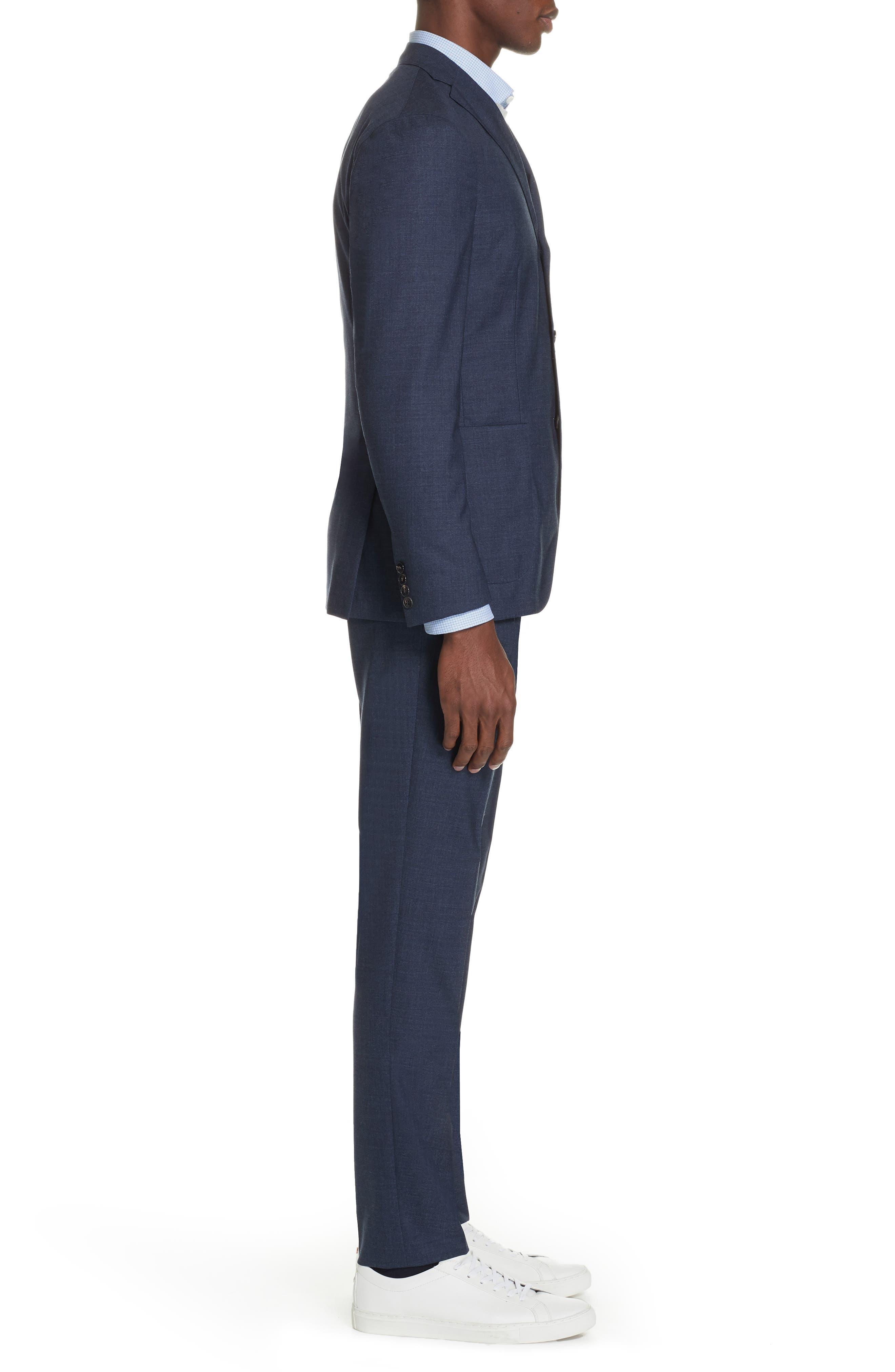 Trim Fit Solid Wool Suit,                             Alternate thumbnail 3, color,                             BLUE