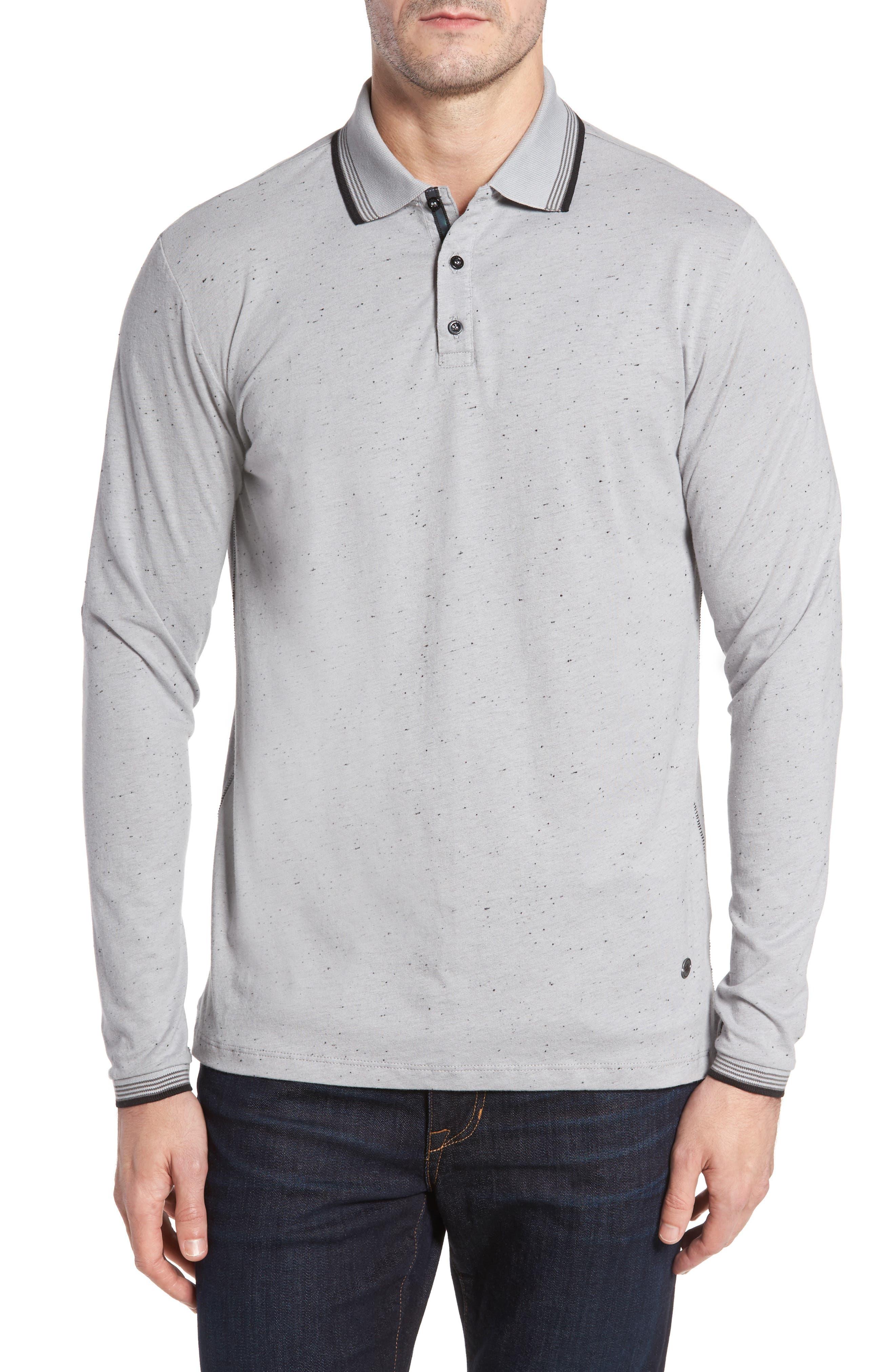 Speckle Knit Long Sleeve Polo,                             Main thumbnail 1, color,