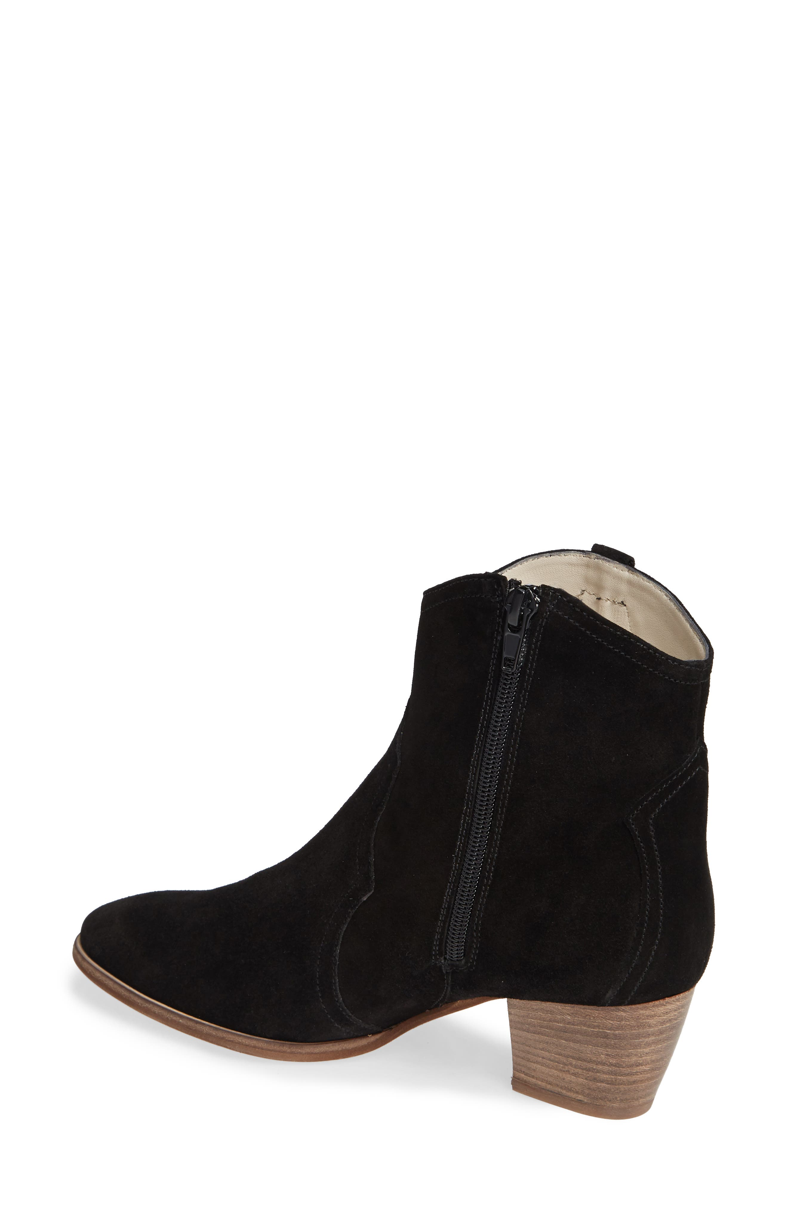 Raggio Western Bootie,                             Alternate thumbnail 2, color,                             BLACK VELOUR SUEDE