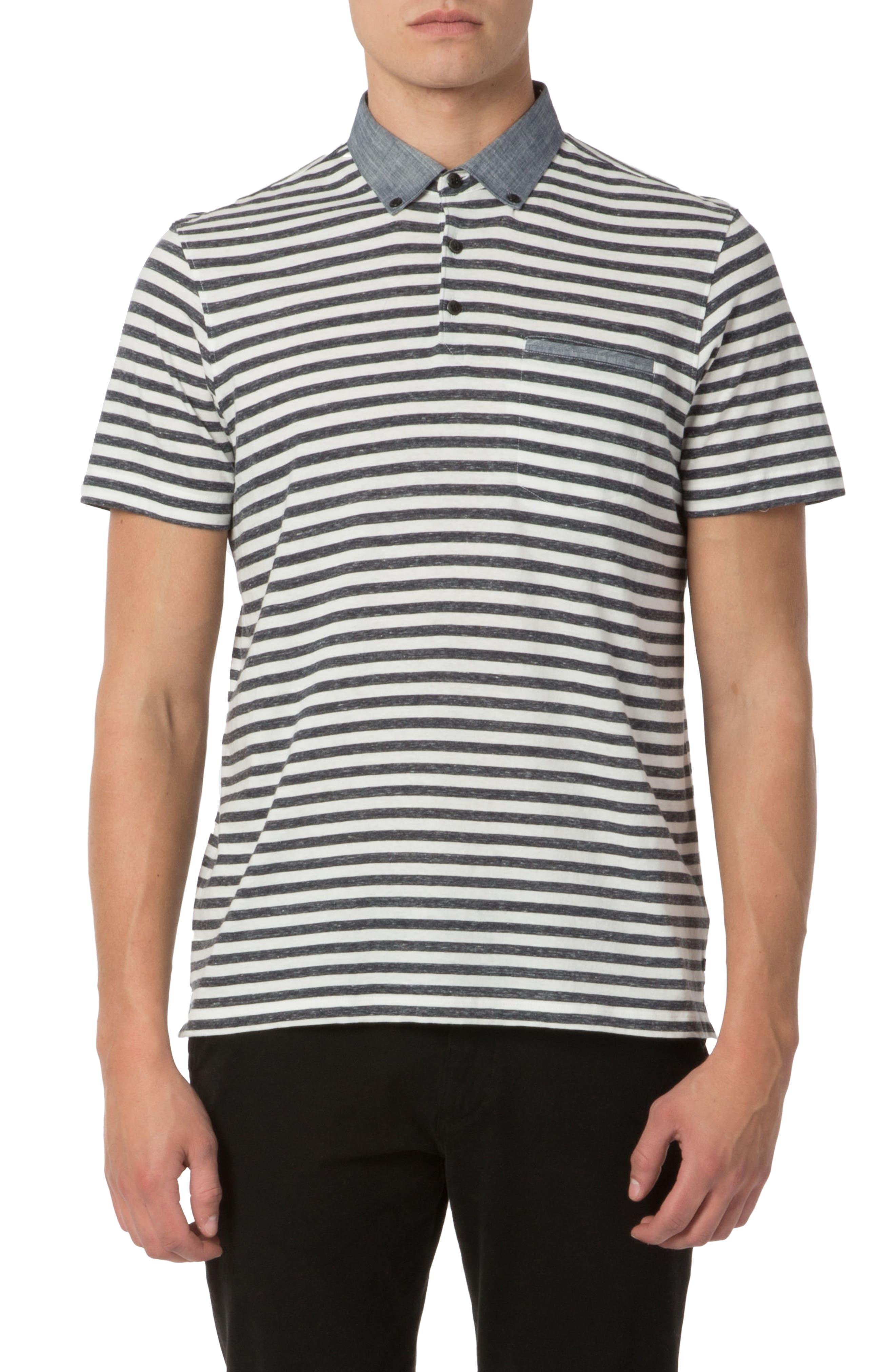 Trim Fit Stripe Linen Polo,                         Main,                         color, 413