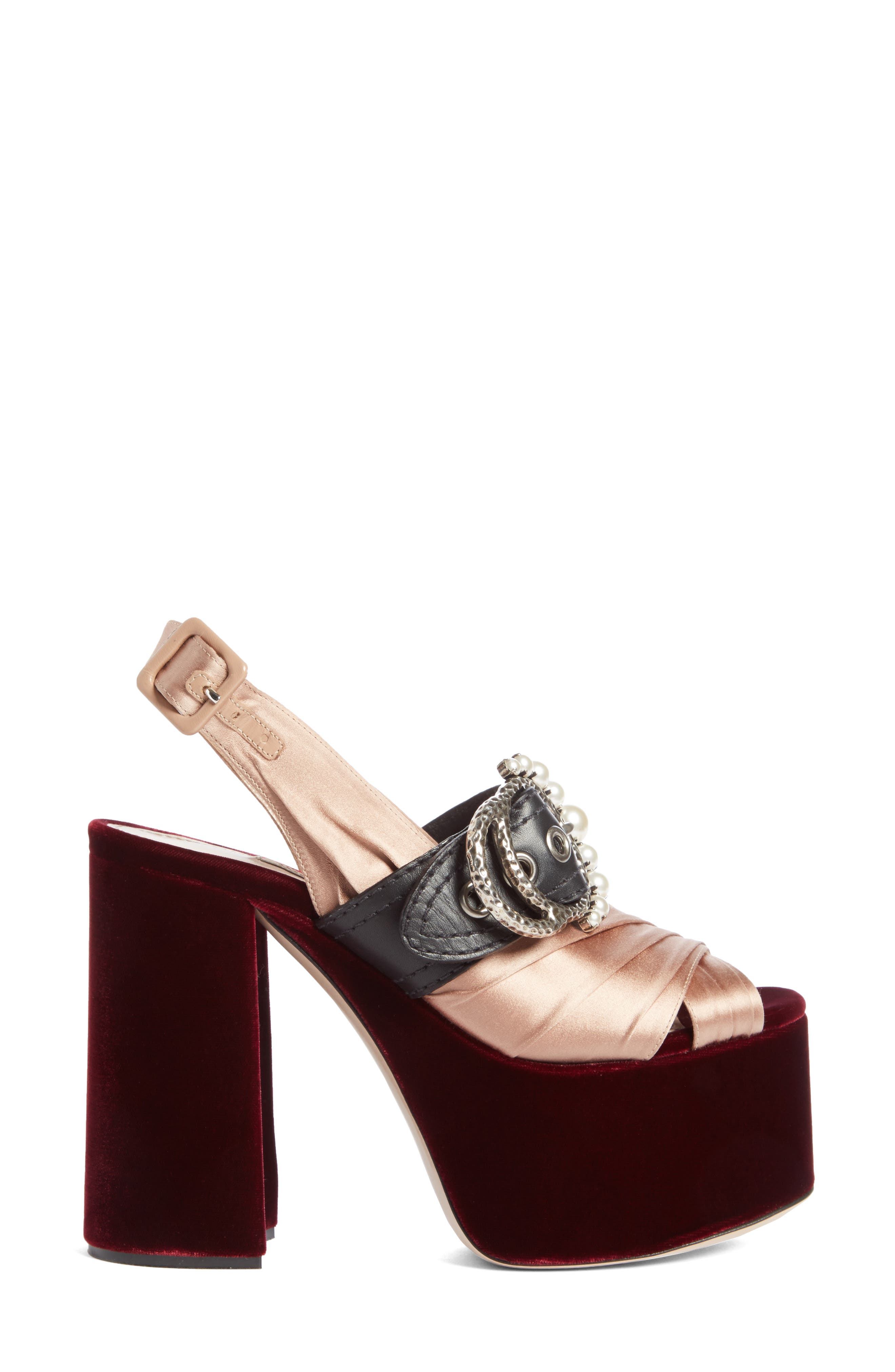 Imitation Pearl Slingback Platform Sandal,                             Alternate thumbnail 4, color,                             250
