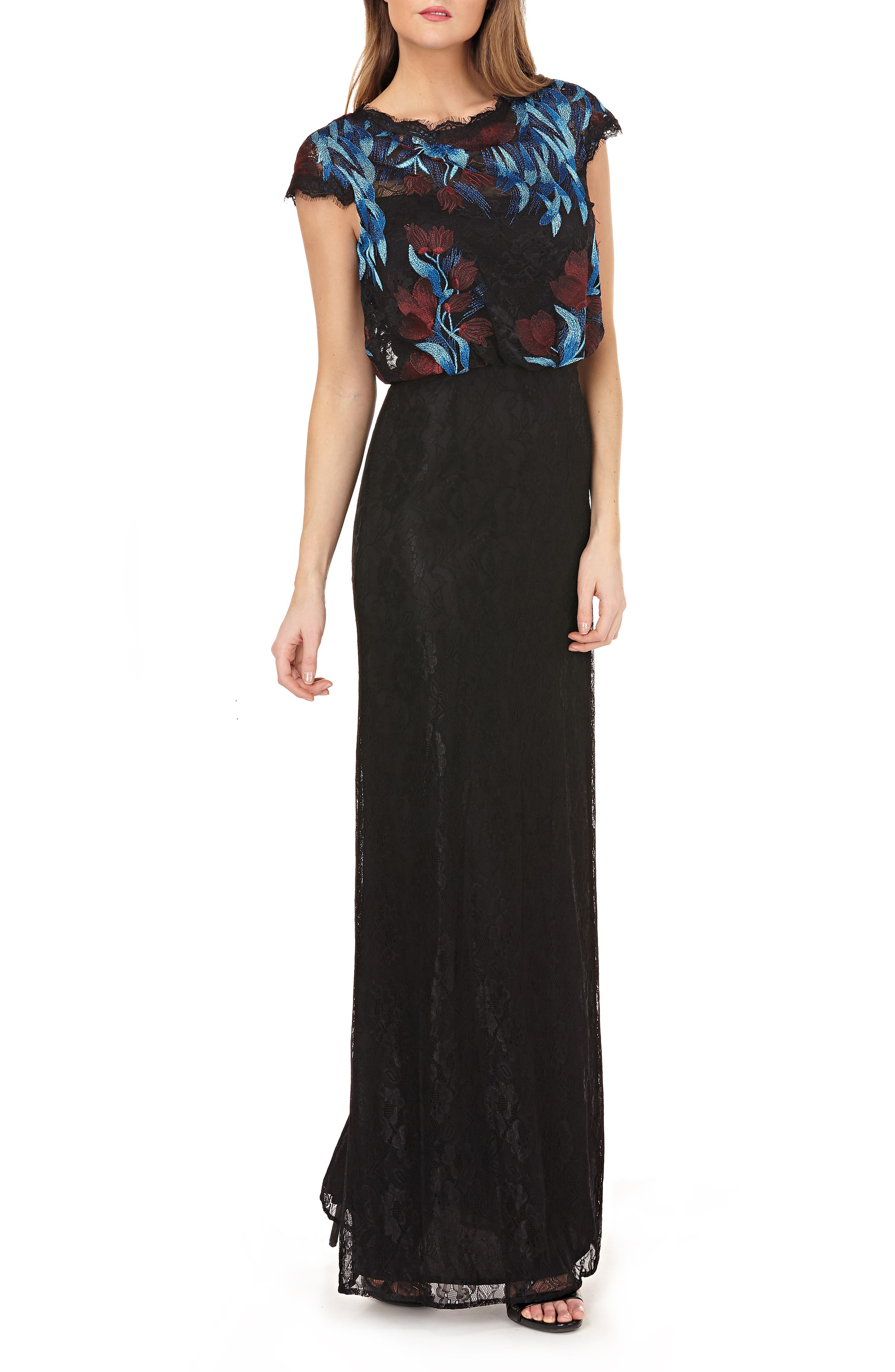 Embroidered Blouson Bodice Lace Gown,                             Main thumbnail 1, color,                             MIDNIGHT/ MULTI
