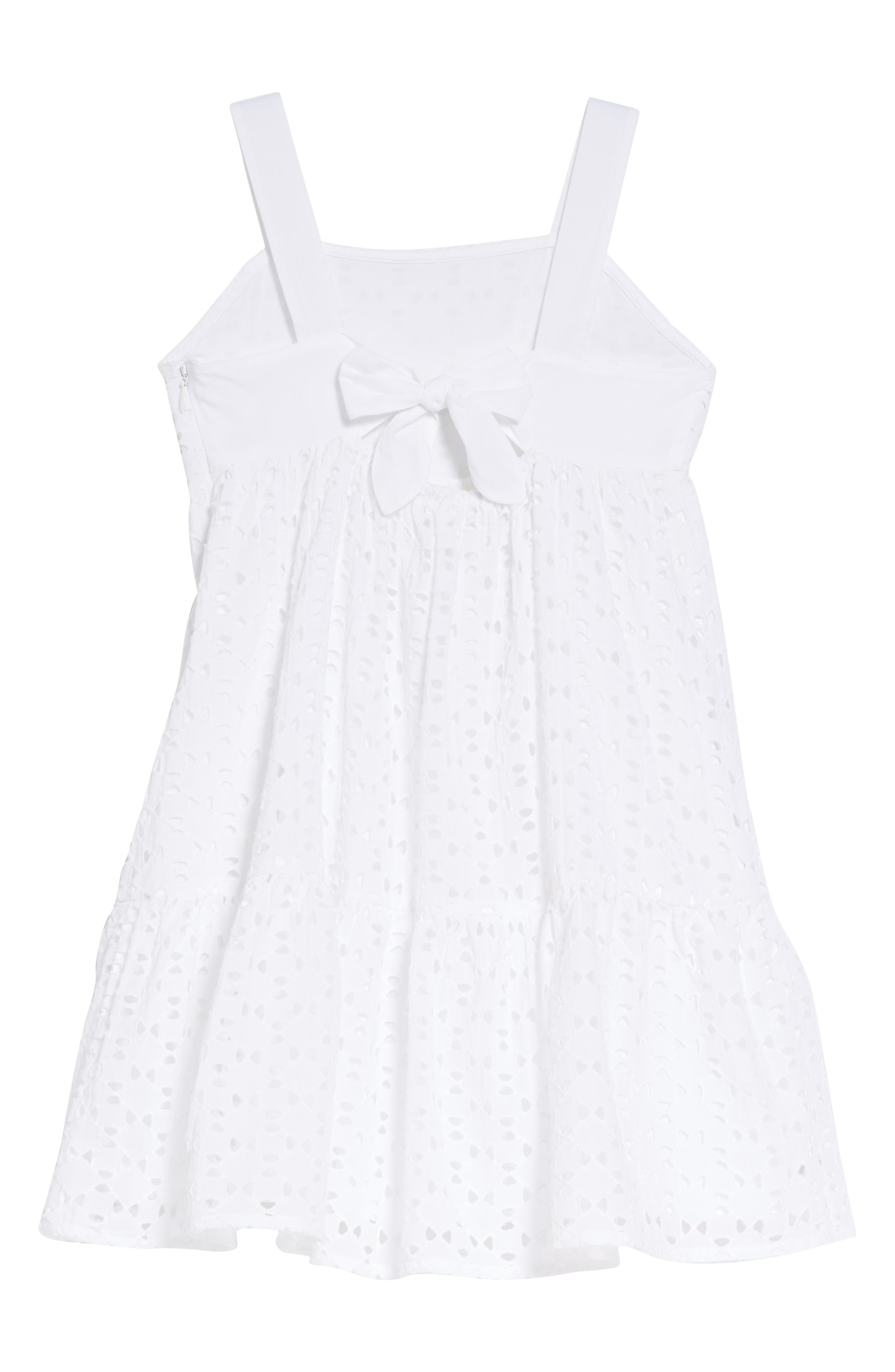 Eliza Eyelet Dress,                             Alternate thumbnail 2, color,                             WHITE