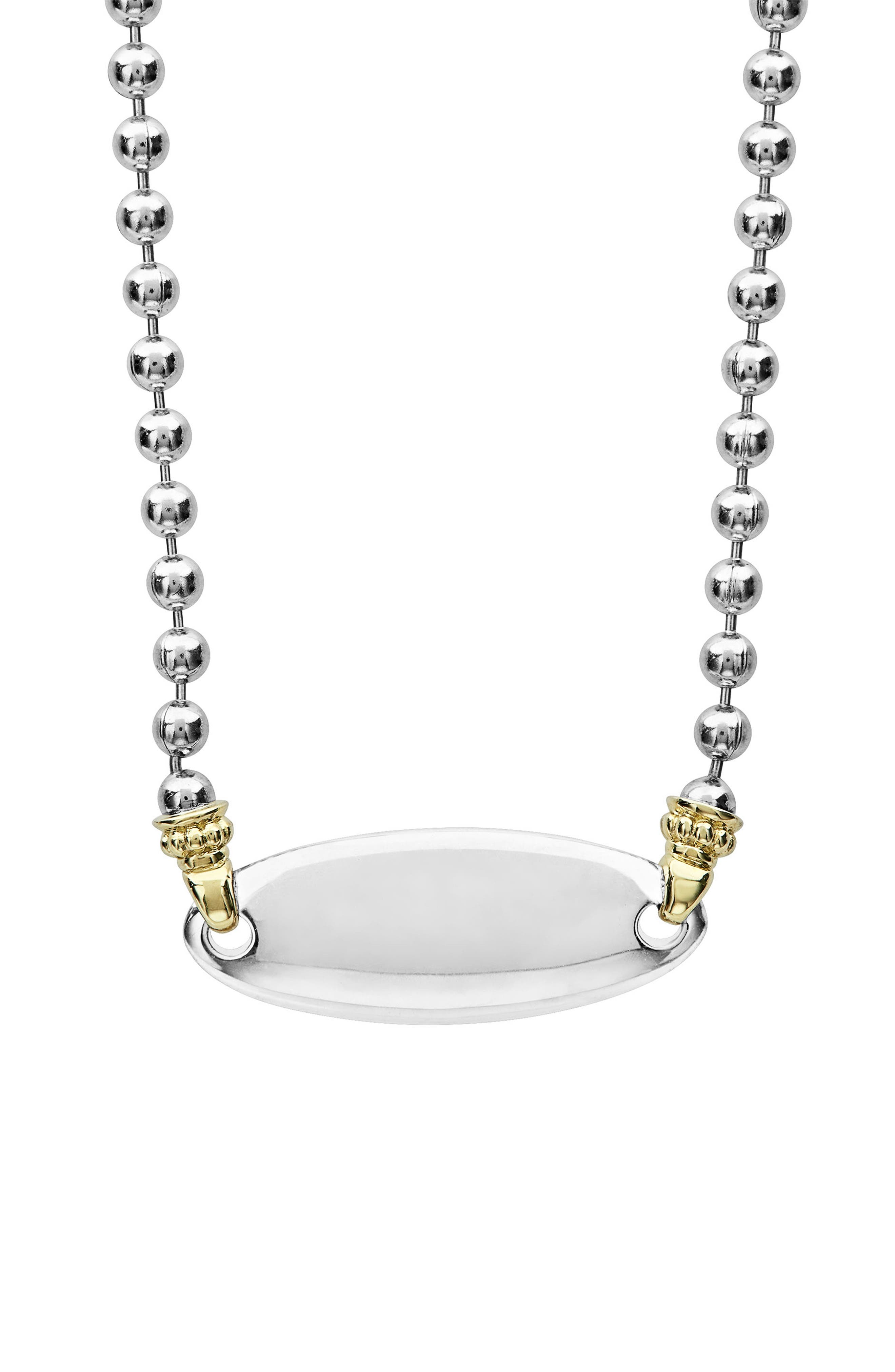 Beloved Oval Plate Chain Necklace,                             Alternate thumbnail 3, color,                             SILVER