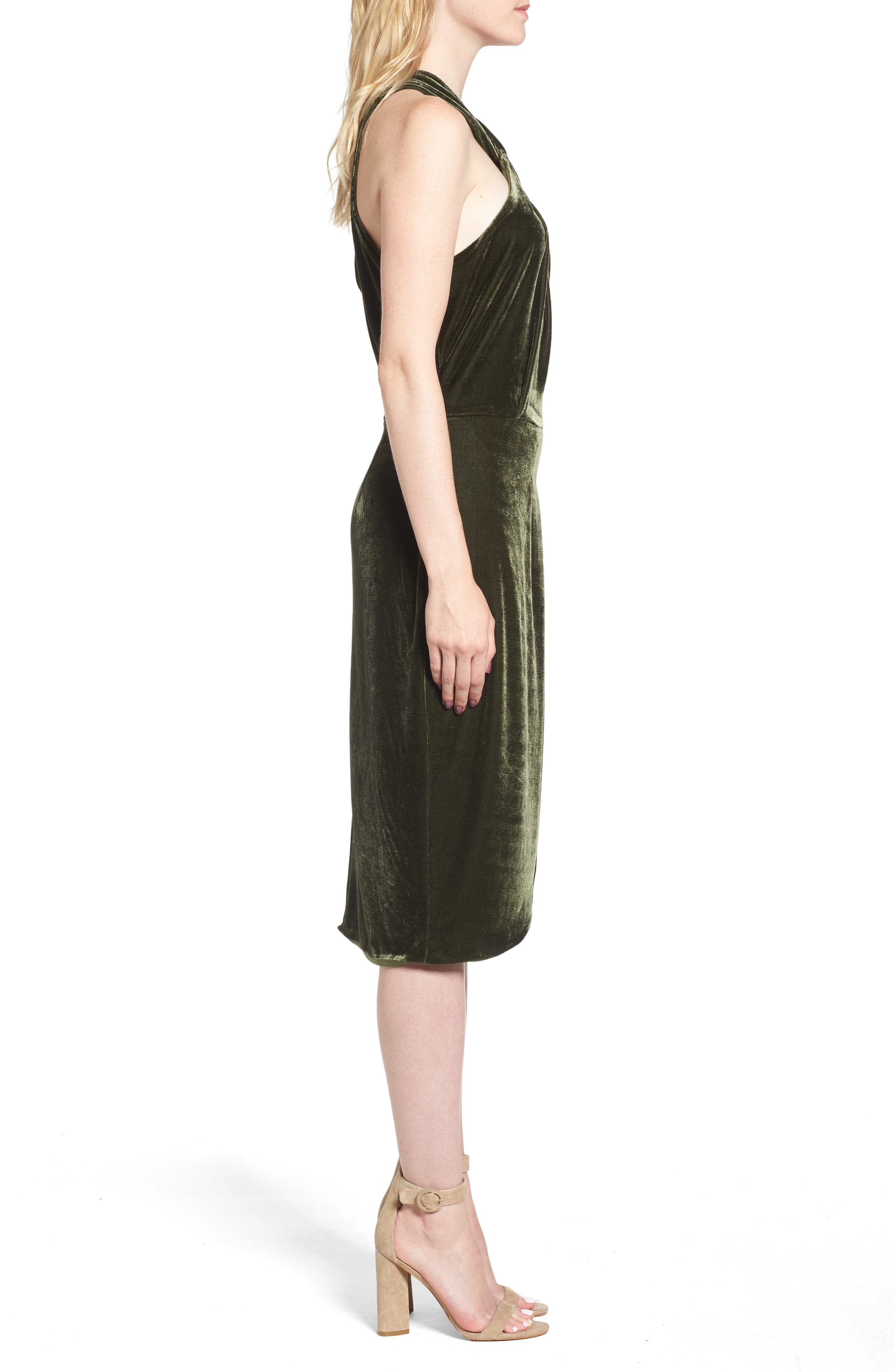 Wales Velvet Halter Dress,                             Alternate thumbnail 3, color,                             360