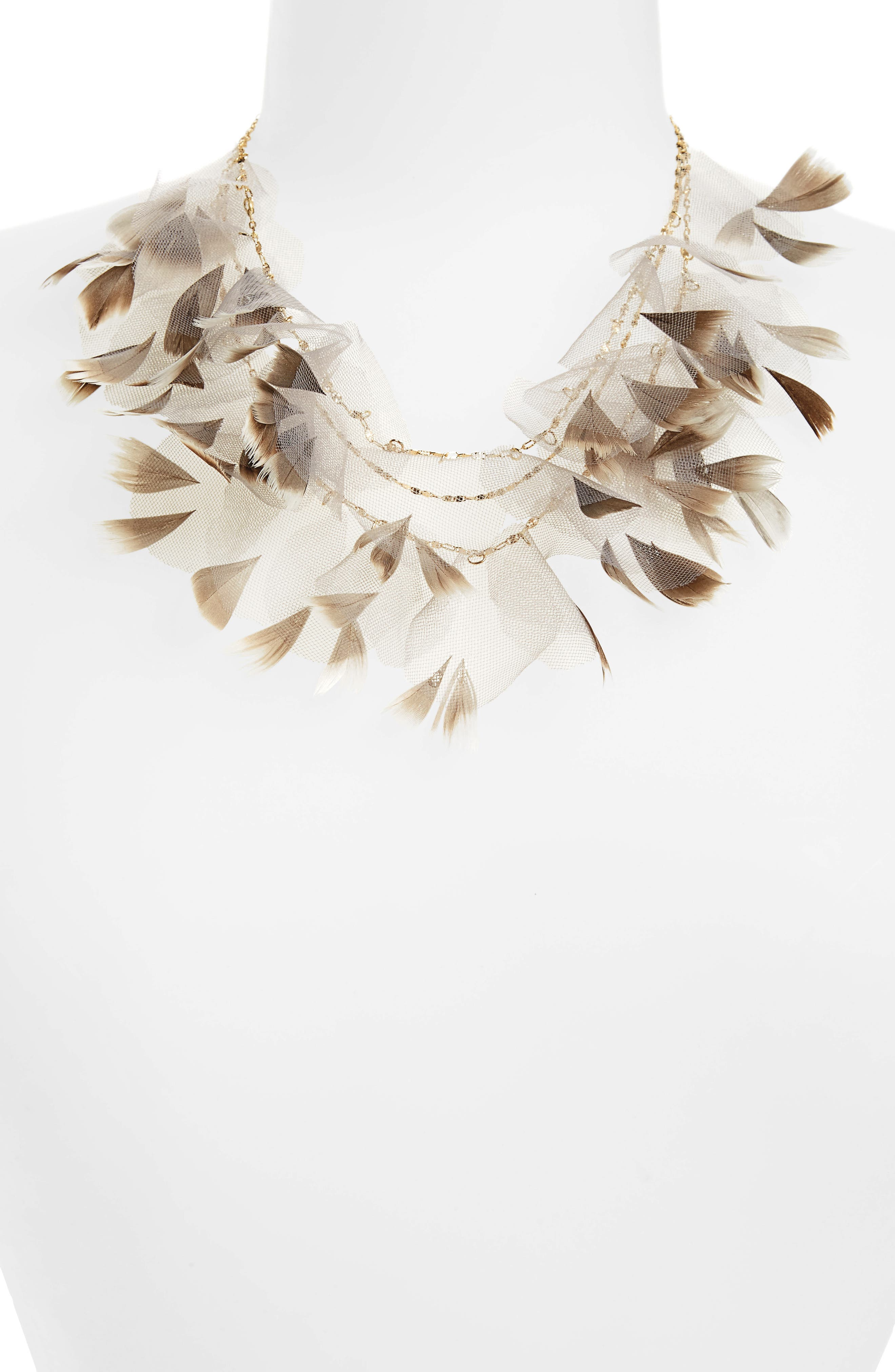 Statement Feather Necklace,                             Main thumbnail 1, color,