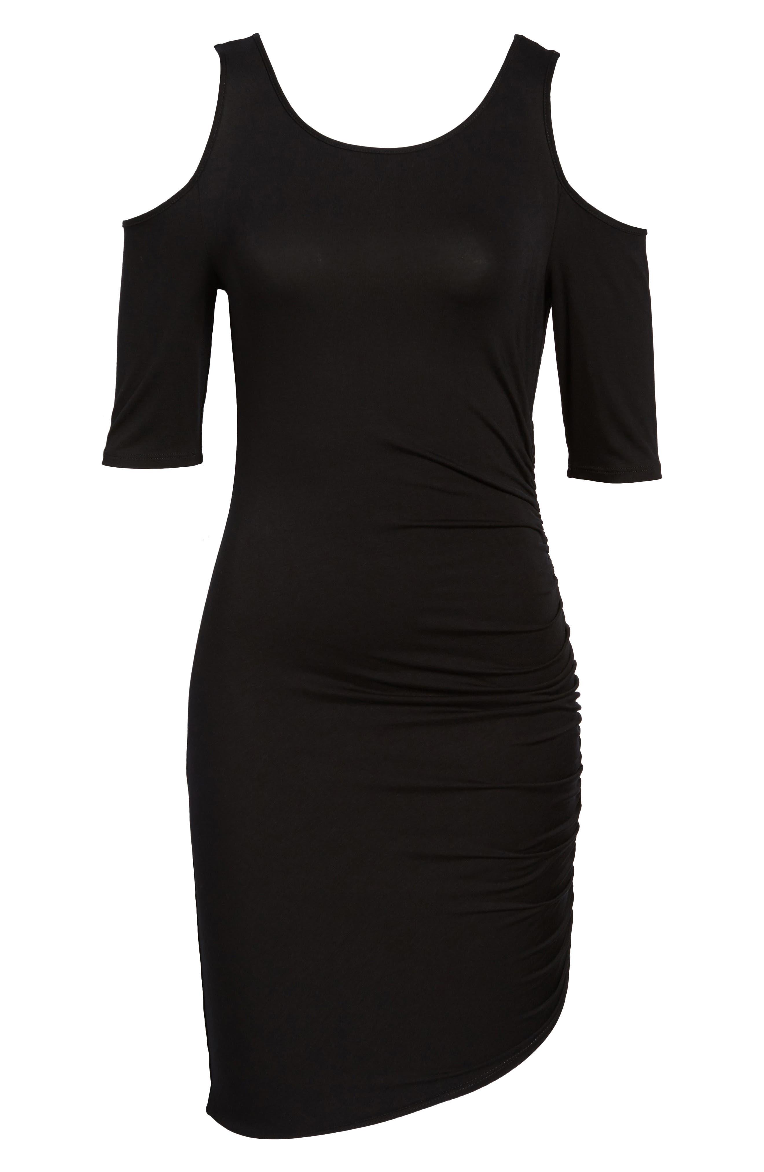 Ruched Cold Shoulder Dress,                             Alternate thumbnail 6, color,                             001