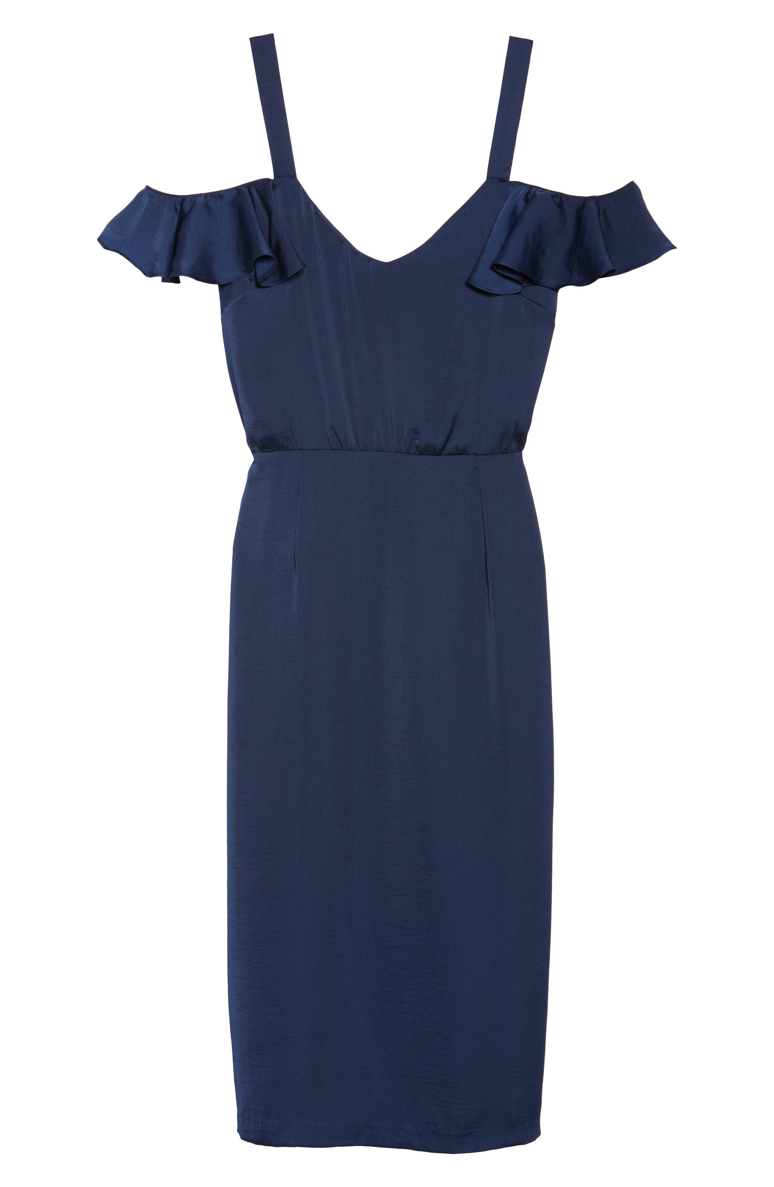 Cold Shoulder Midi Dress,                             Alternate thumbnail 6, color,                             018