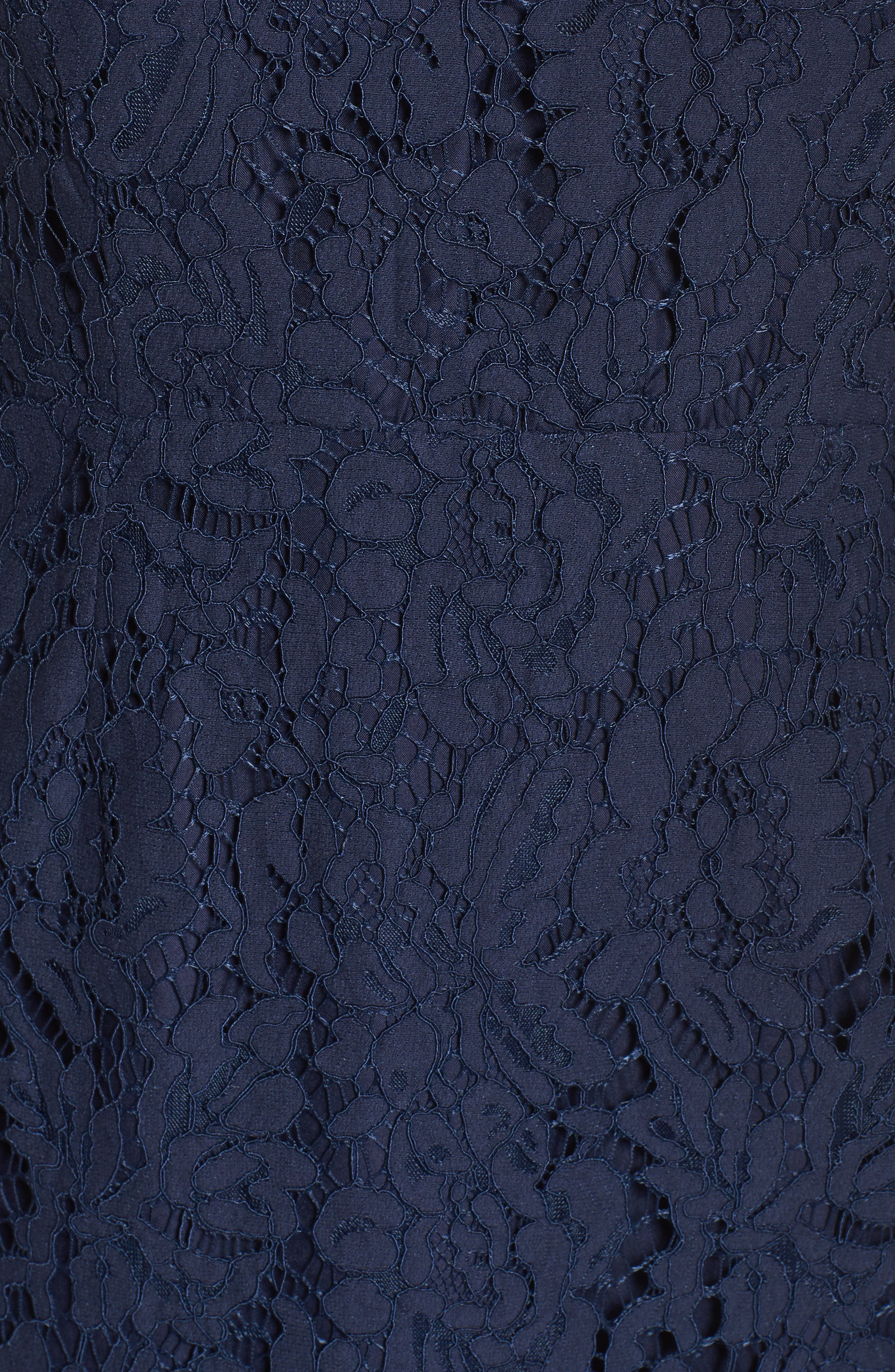 'Cara' High Neck Lace Dress,                             Alternate thumbnail 6, color,                             NAVY