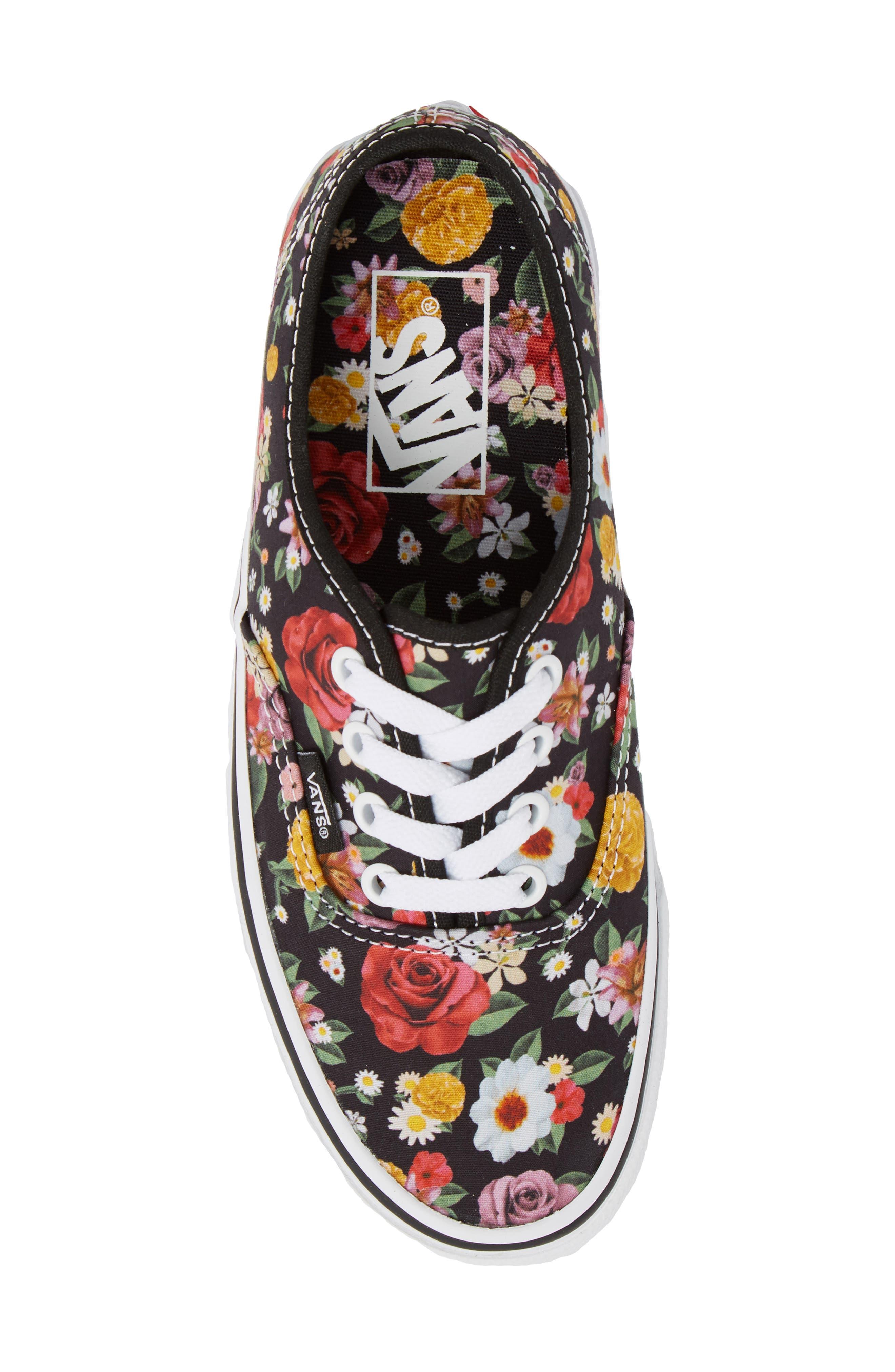 UA Authentic Lux Floral Sneaker,                             Alternate thumbnail 5, color,                             DIGI FLORAL/ BLACK