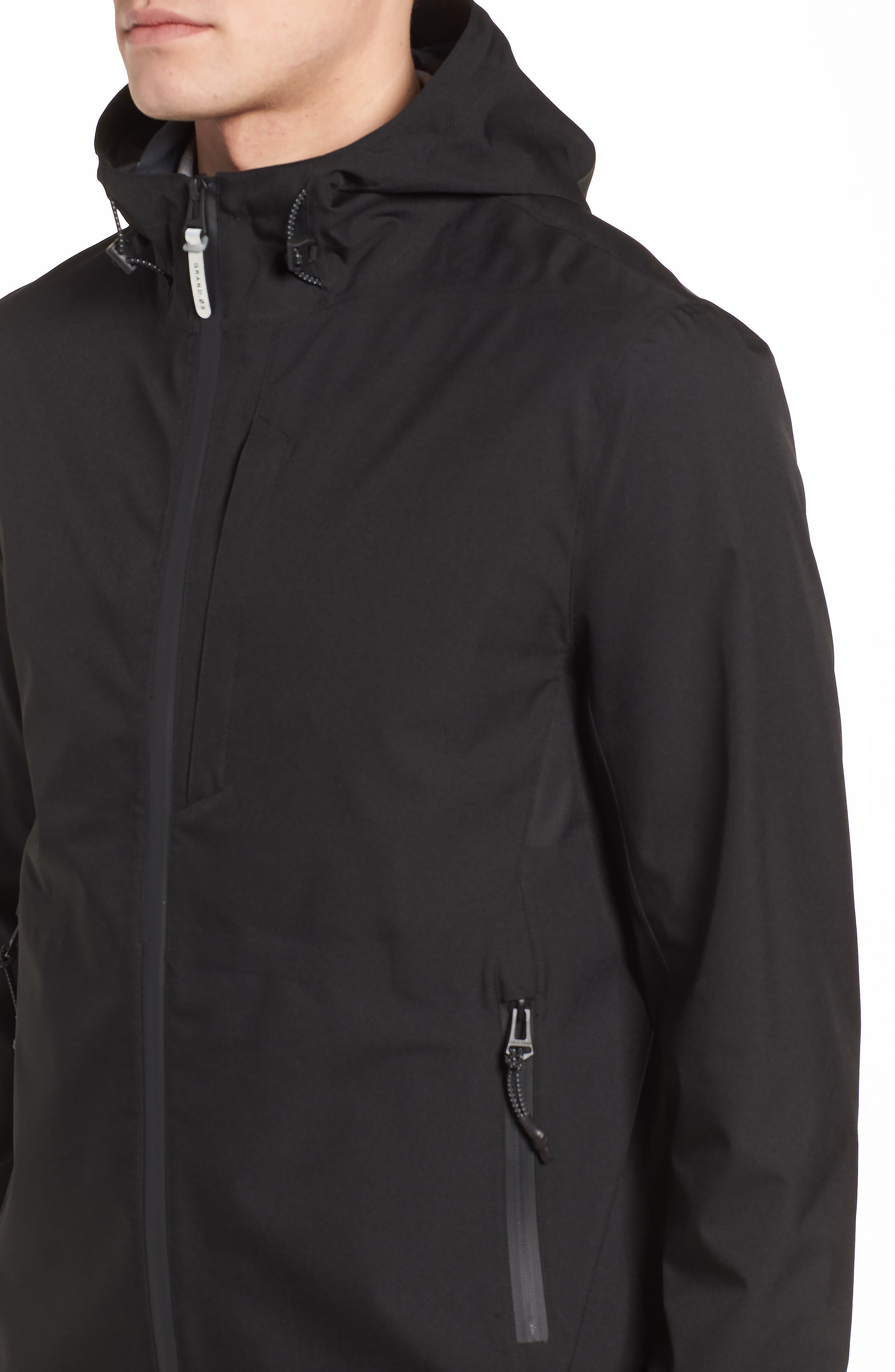 Seam Sealed Packable Jacket,                             Alternate thumbnail 4, color,                             BLACK