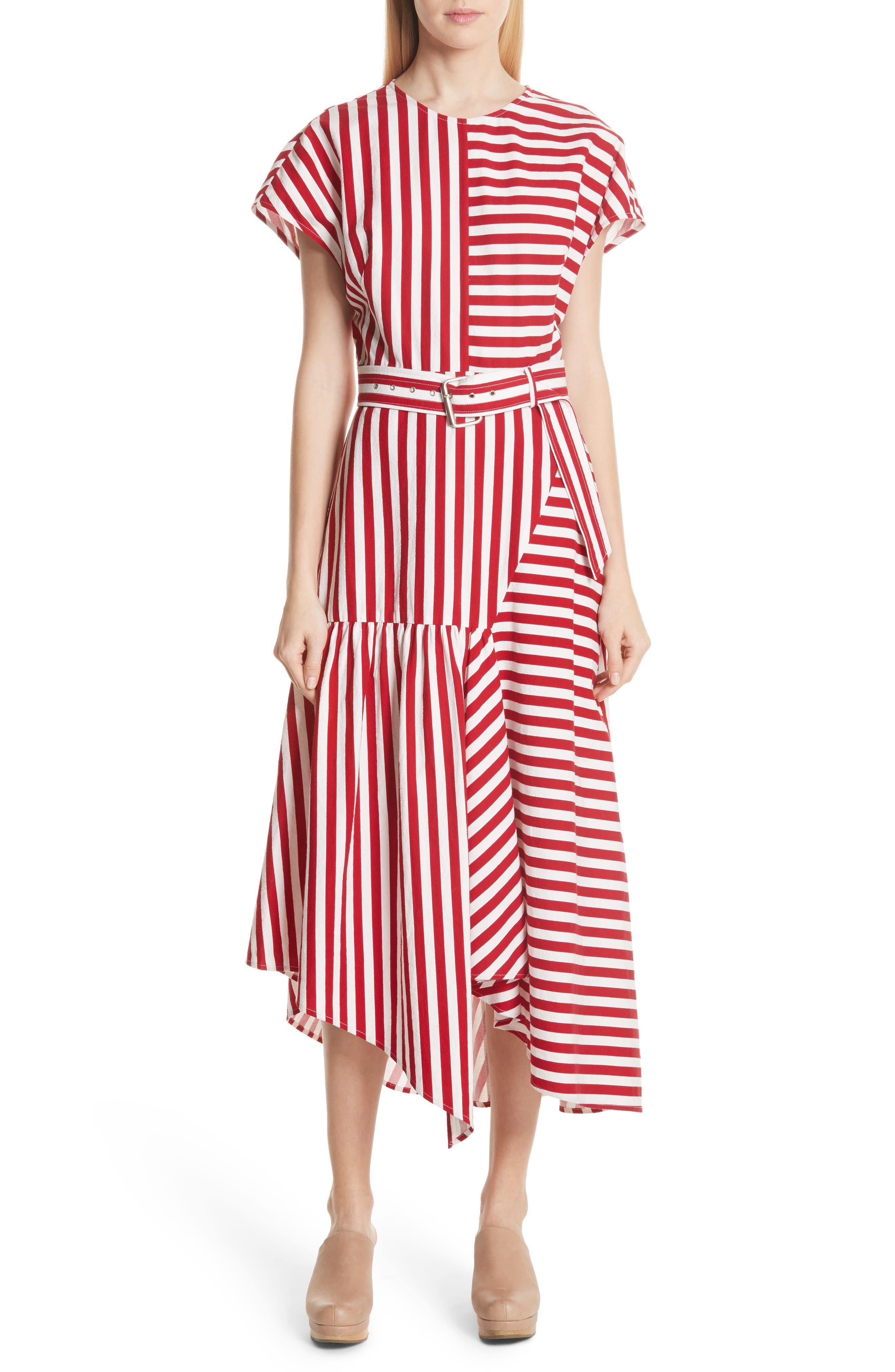 Steady Asymmetrical Dress,                             Main thumbnail 1, color,                             RED