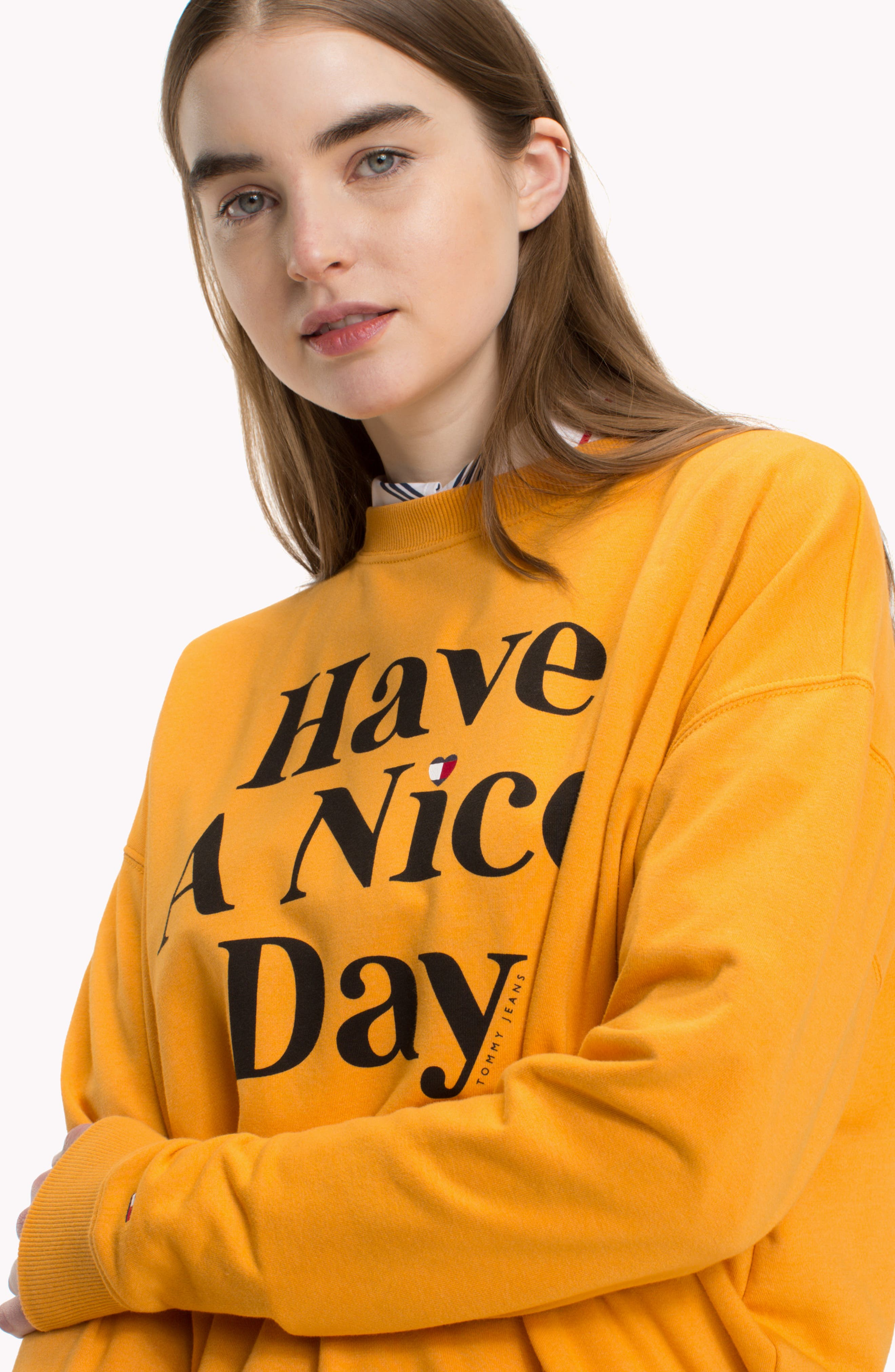 TJW Have A Nice Day Sweatshirt,                             Alternate thumbnail 3, color,                             BUTTERSCOTCH