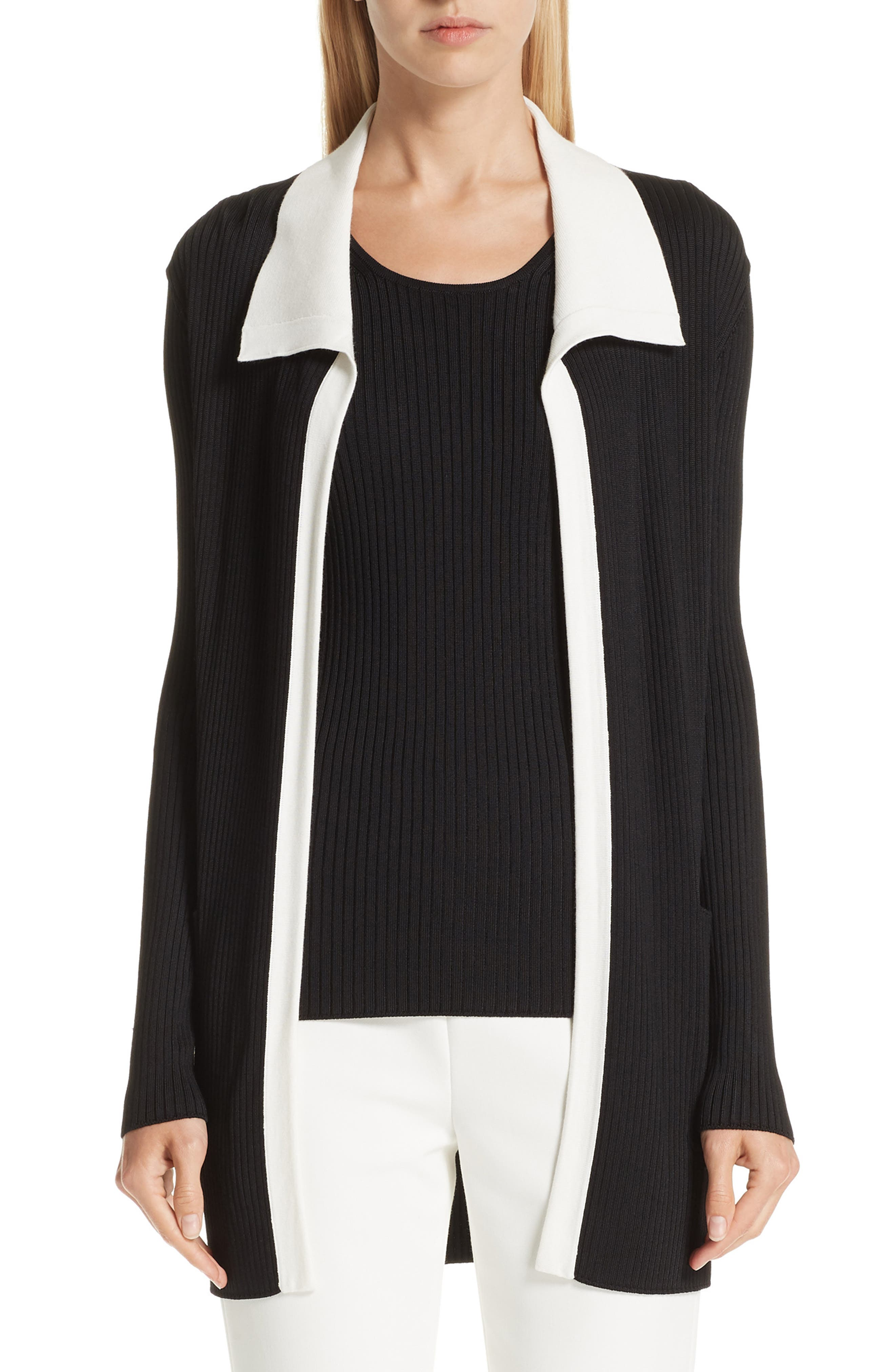 St John Collection Plaited Rib Knit Asymmetrical Cardigan Nordstrom
