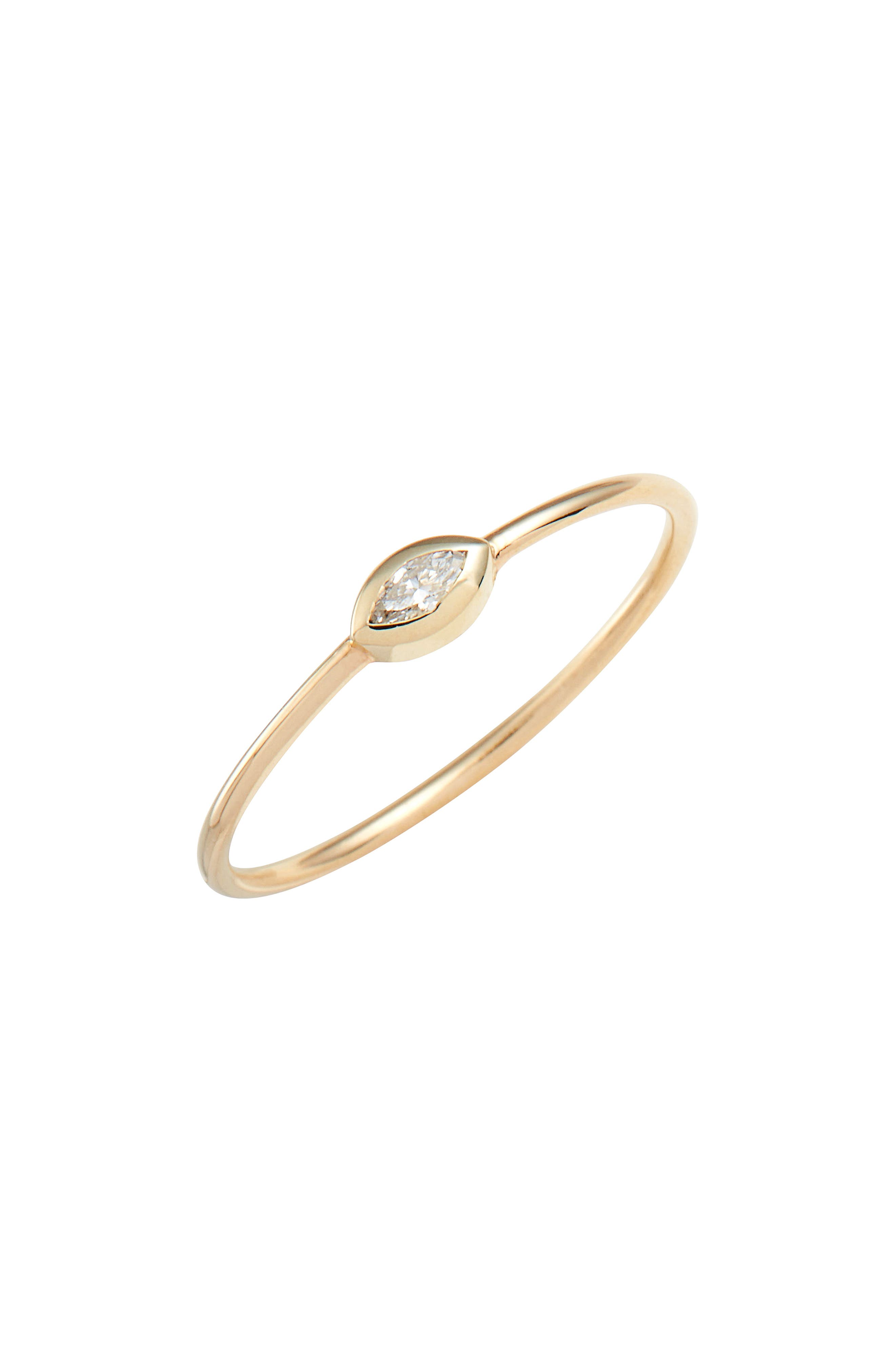 Marquise Diamond Stackable Ring,                         Main,                         color, YELLOW GOLD