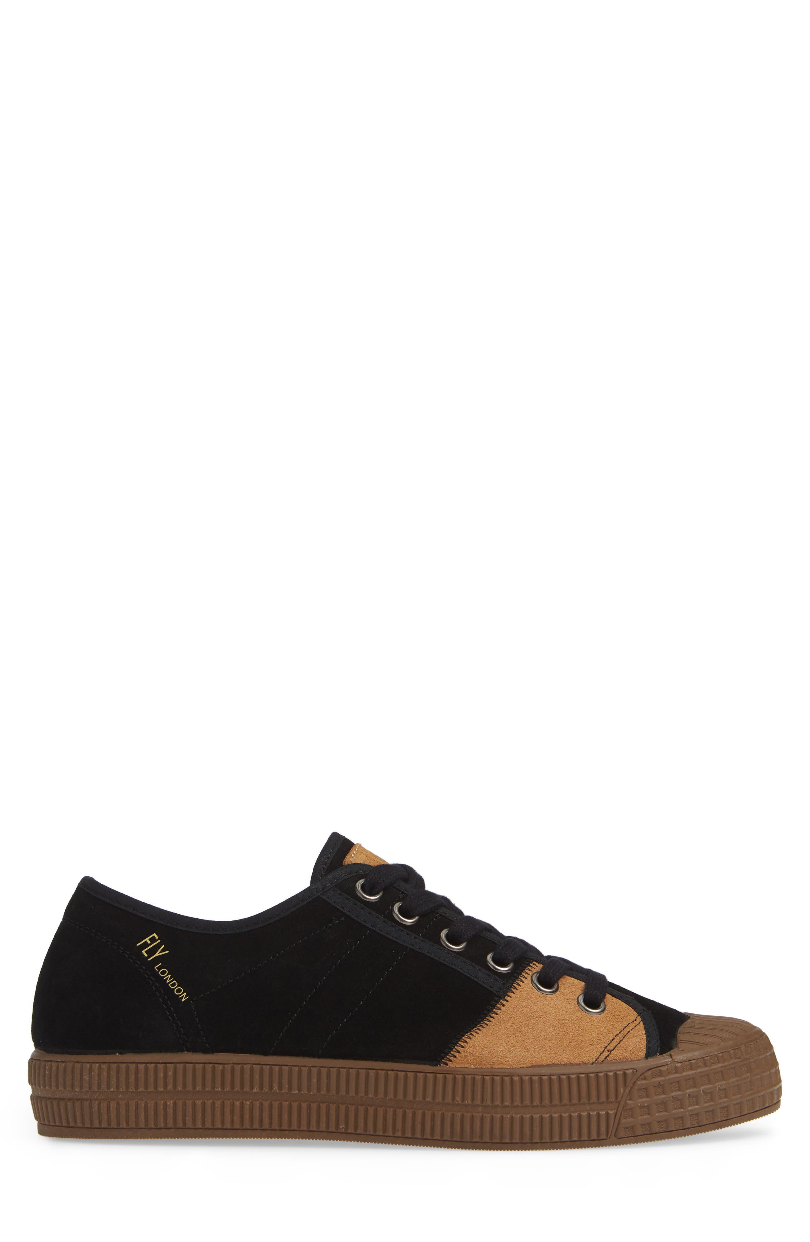 Foto Sneaker,                             Alternate thumbnail 3, color,                             BLACK/ CAMEL SUEDE