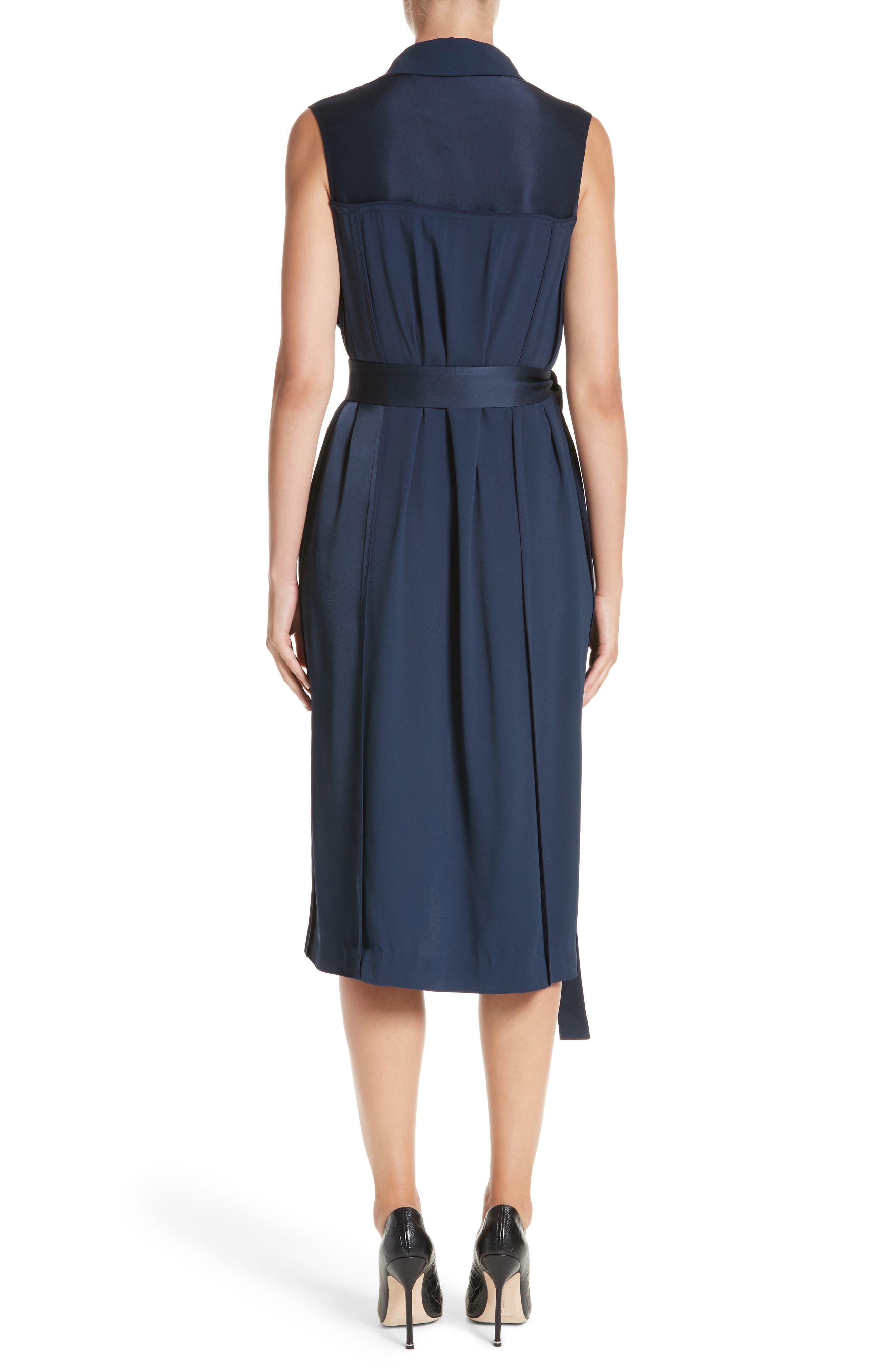Crepe Back Satin Belted Wrap Dress,                             Alternate thumbnail 2, color,