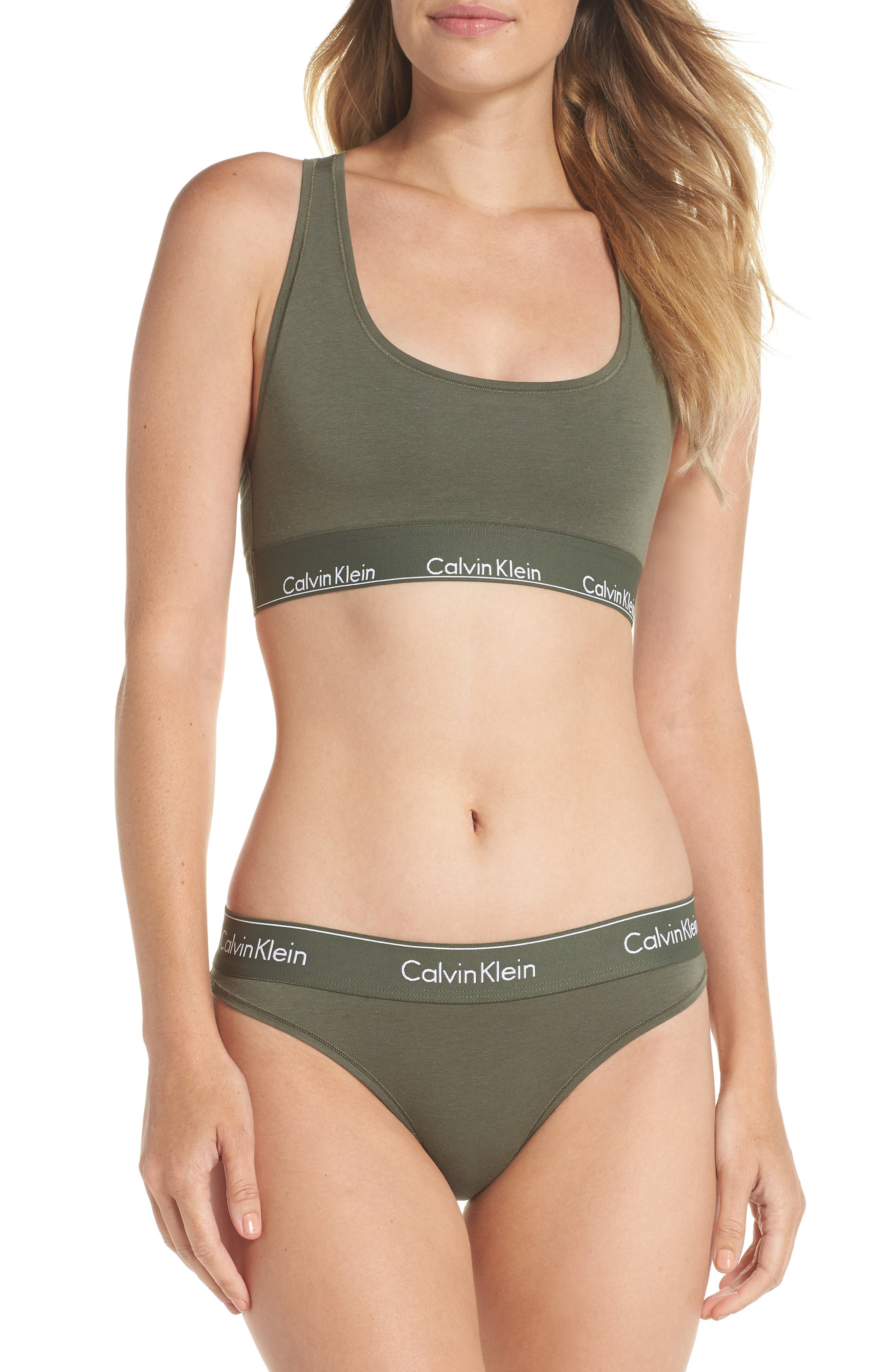 'Modern Cotton Collection' Cotton Blend Bikini,                             Alternate thumbnail 8, color,                             BEETLE