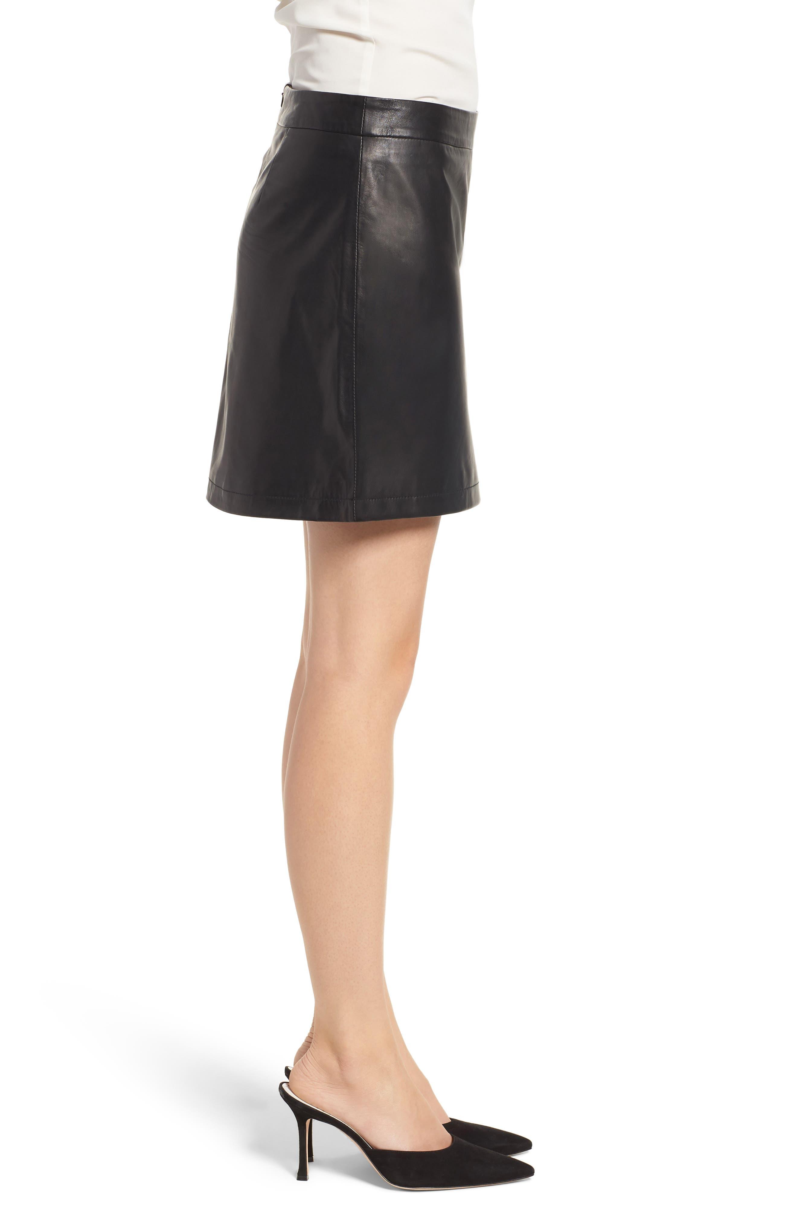 Marrie Leather Miniskirt,                             Alternate thumbnail 3, color,                             BLACK