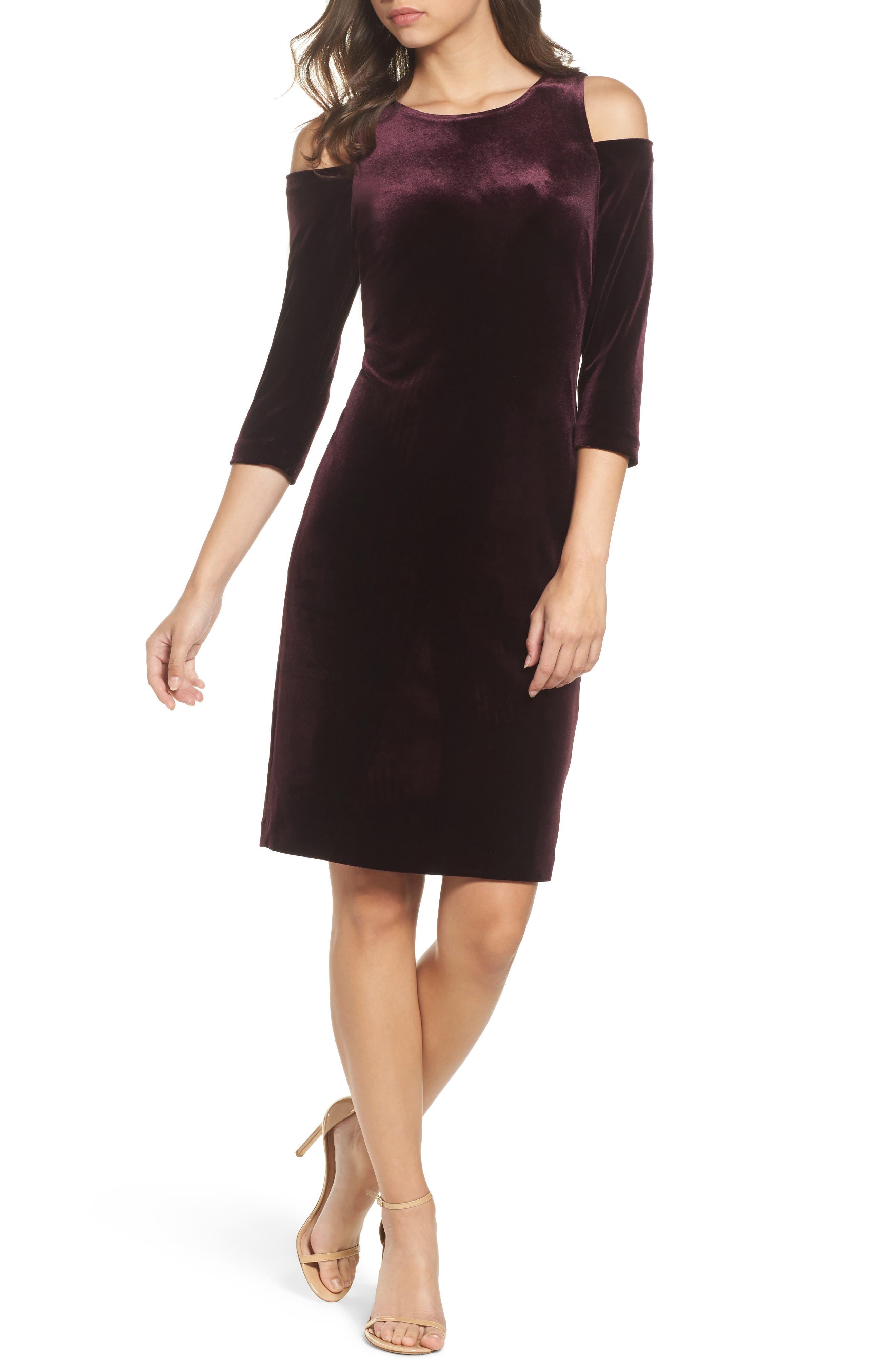Cold Shoulder Velvet Sheath Dress,                             Main thumbnail 2, color,
