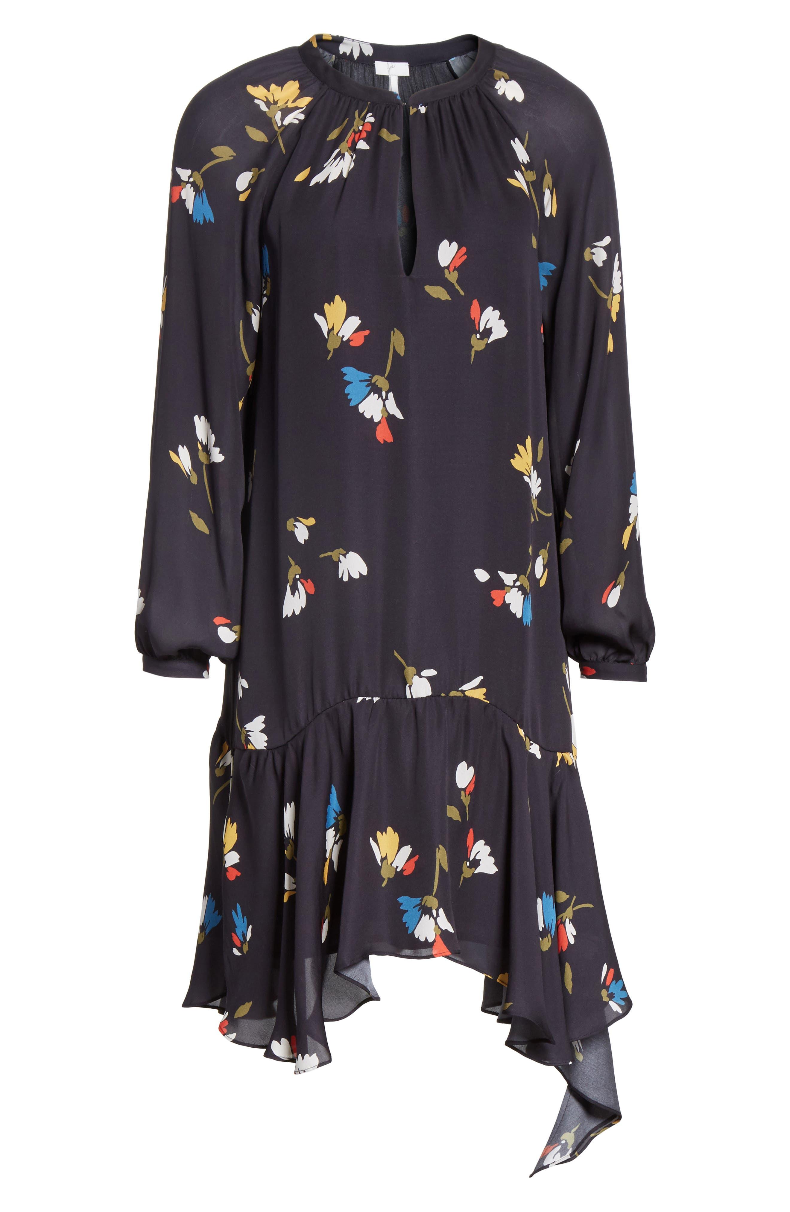 Agrafena Ruffle Hem Silk Dress,                             Alternate thumbnail 6, color,                             002