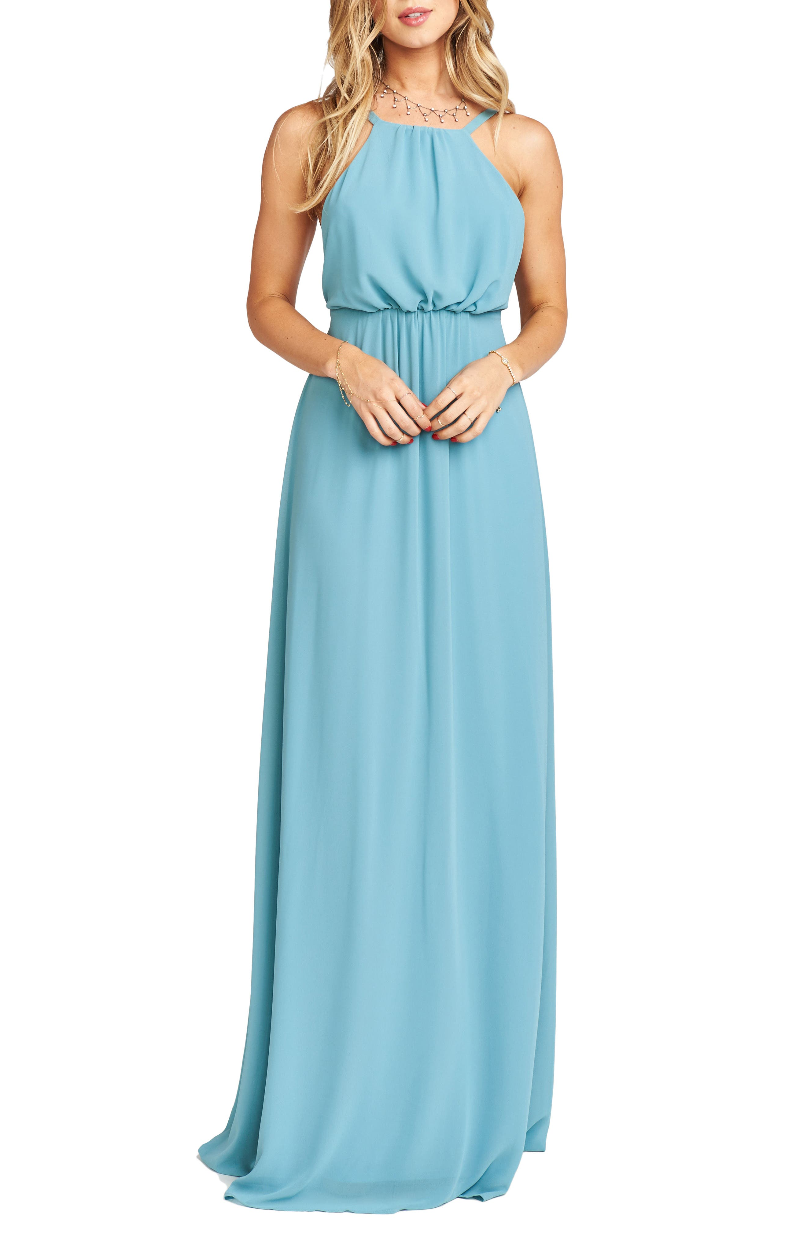 Amanda Open Back Blouson Gown,                             Alternate thumbnail 20, color,