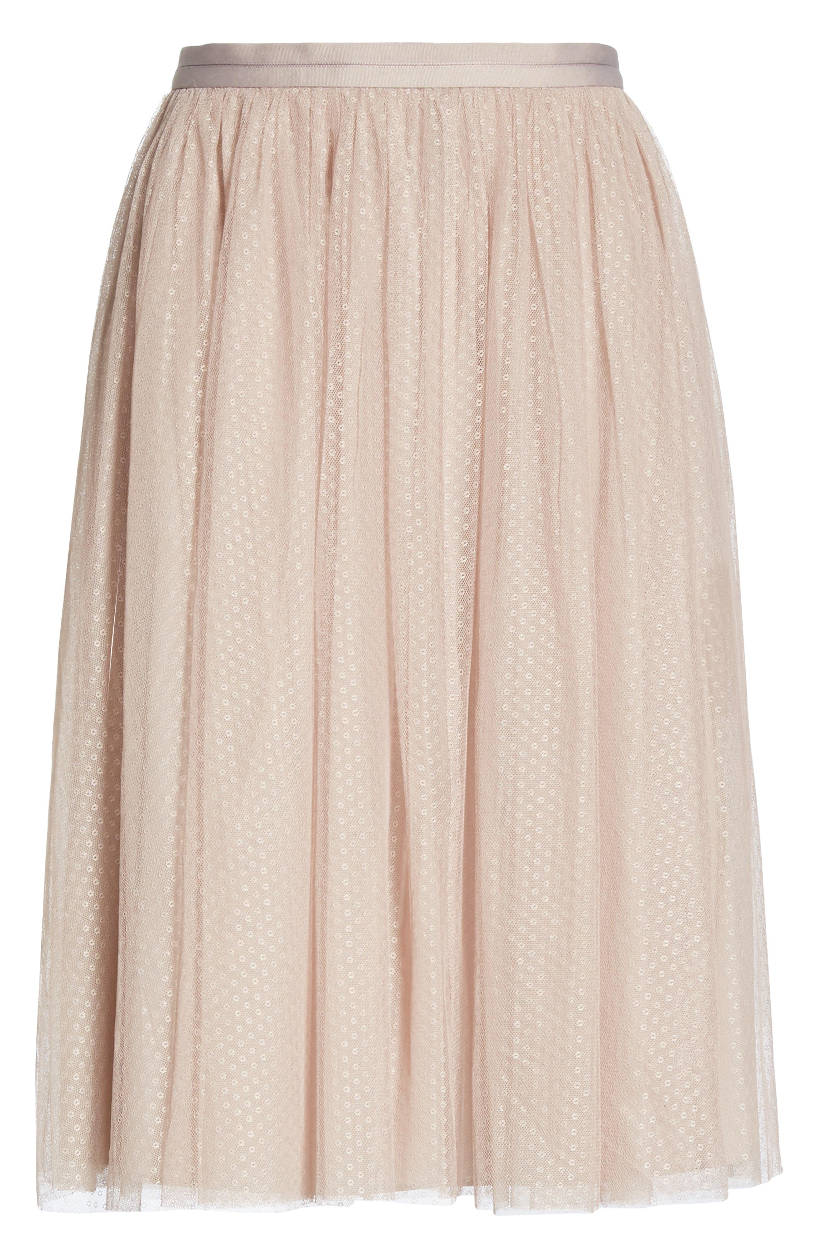 Dotted Tulle A-Line Skirt,                             Alternate thumbnail 6, color,                             DUSK ROSE