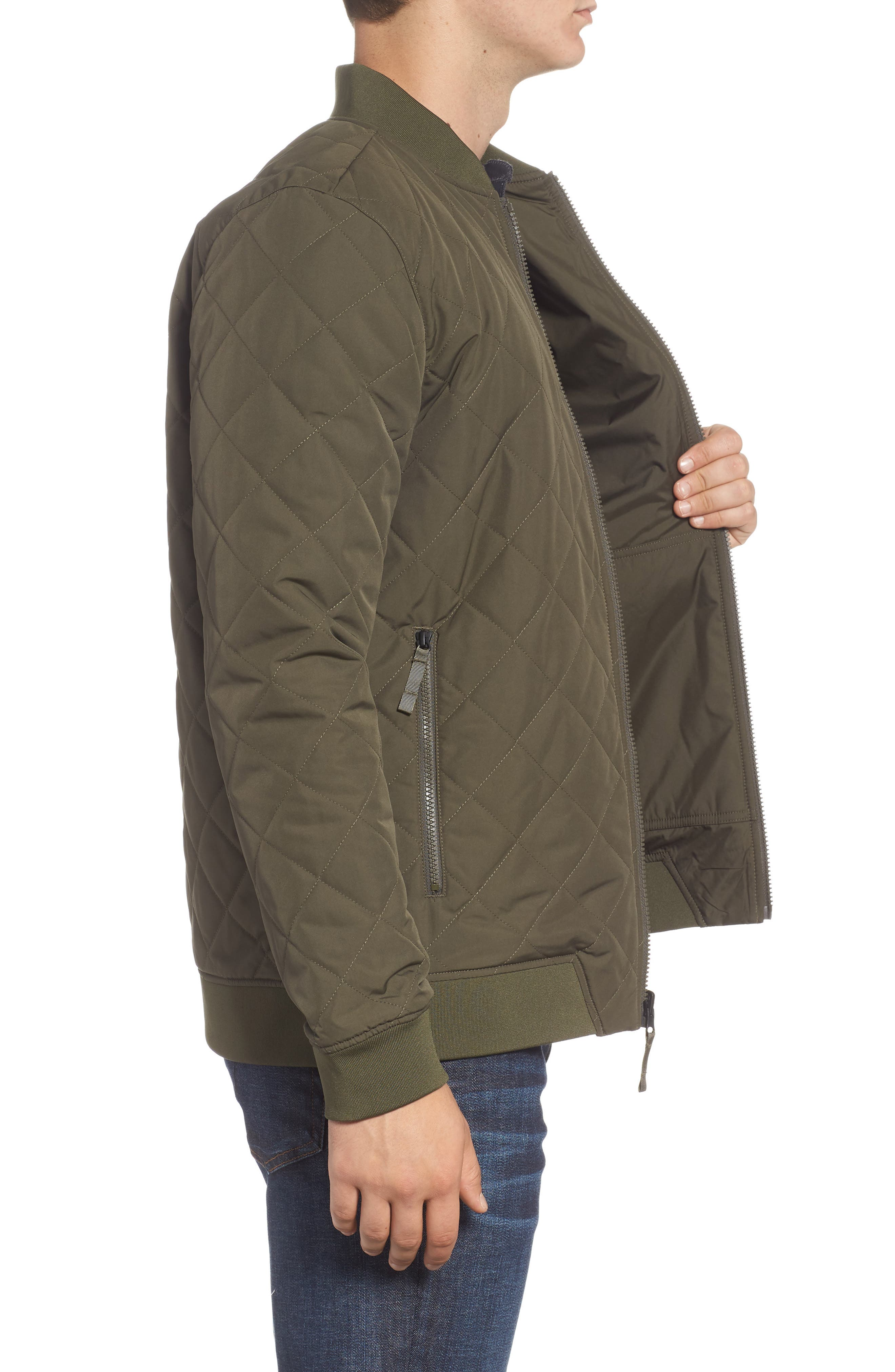THE NORTH FACE,                             Jester Reversible Bomber Jacket,                             Alternate thumbnail 4, color,                             NEW TAUPE GREEN