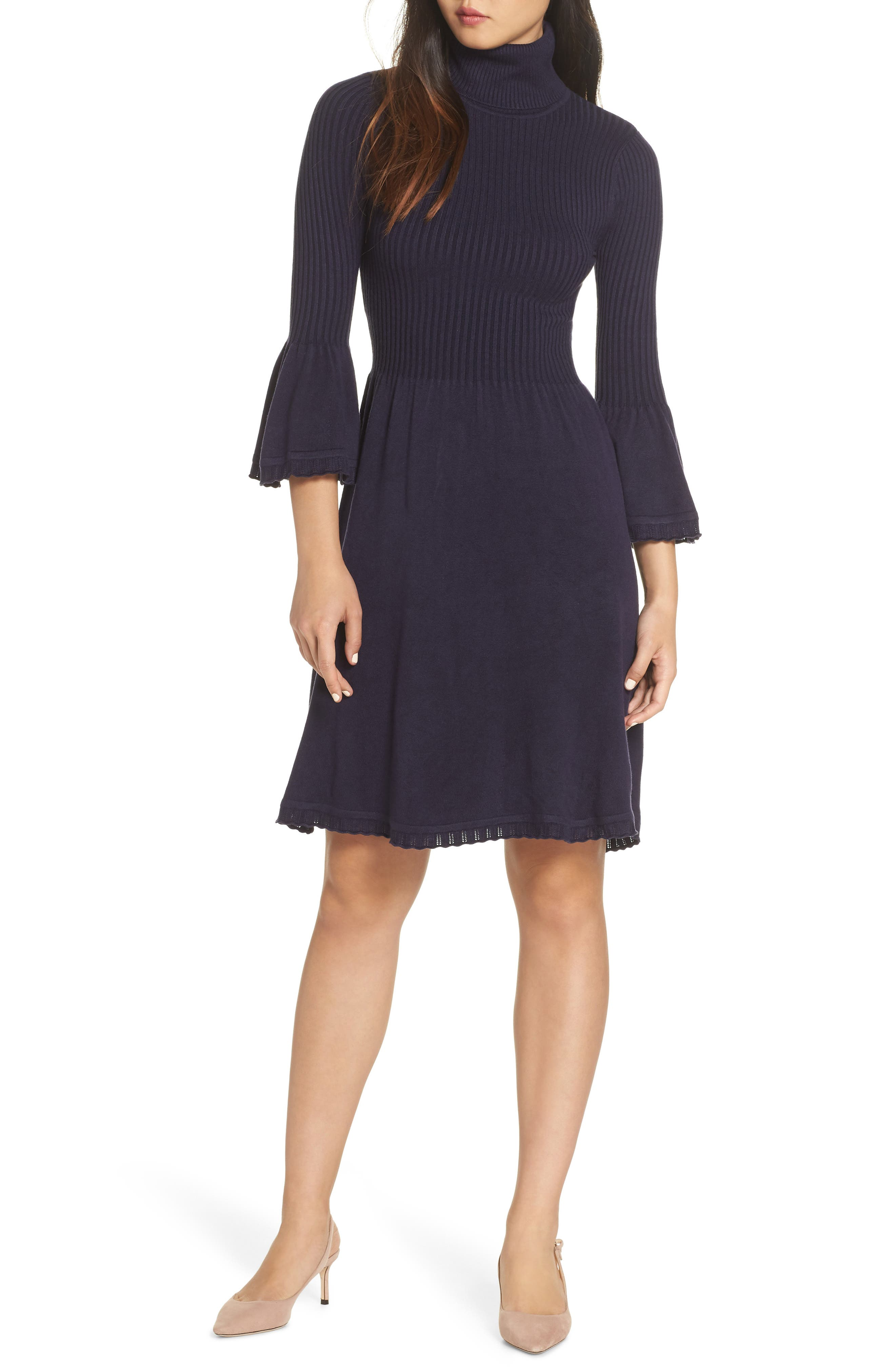 Turtleneck Sweater Dress,                             Main thumbnail 1, color,                             NAVY