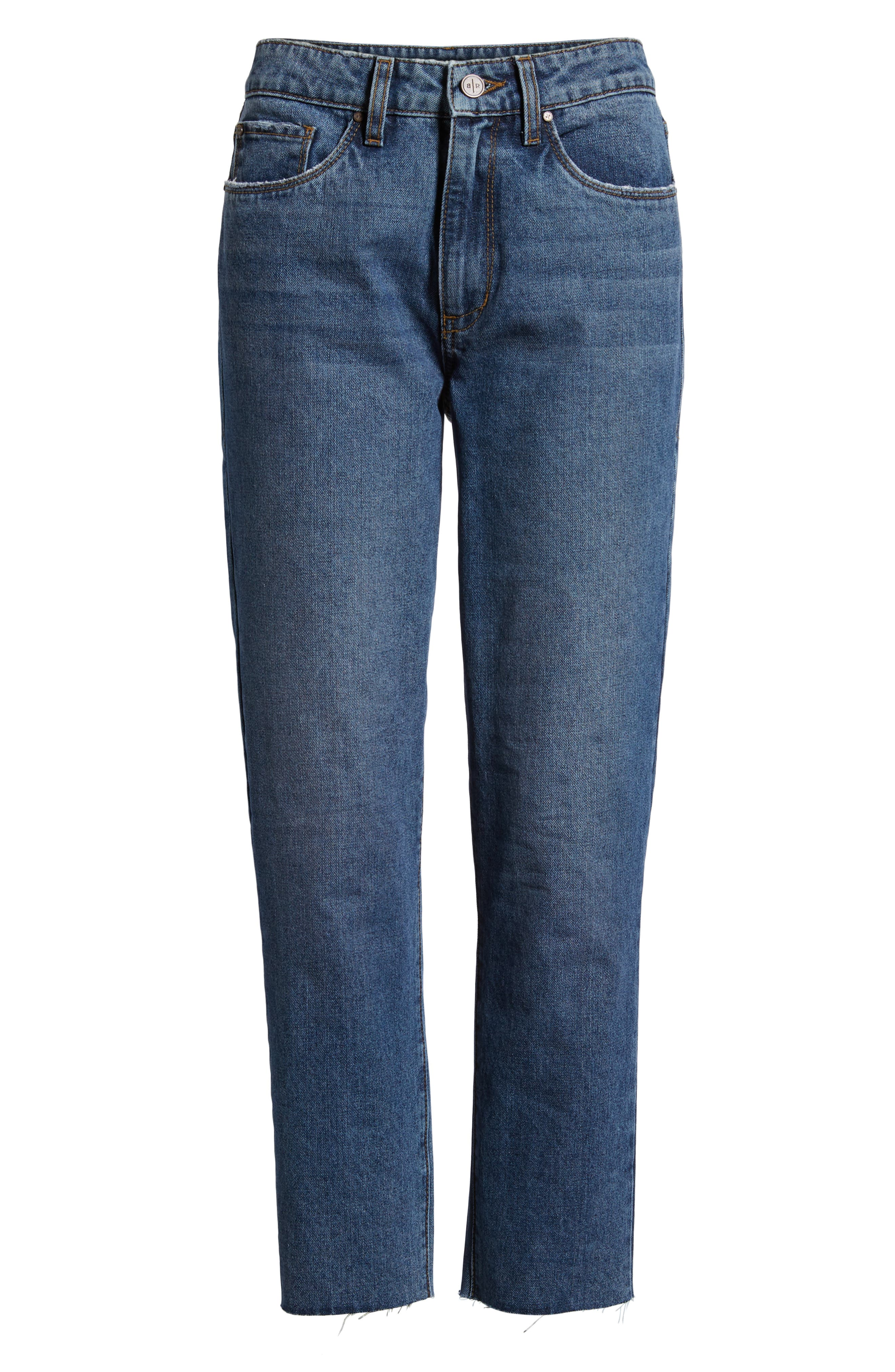 High Waist Straight Leg Crop Jeans,                             Alternate thumbnail 7, color,                             401